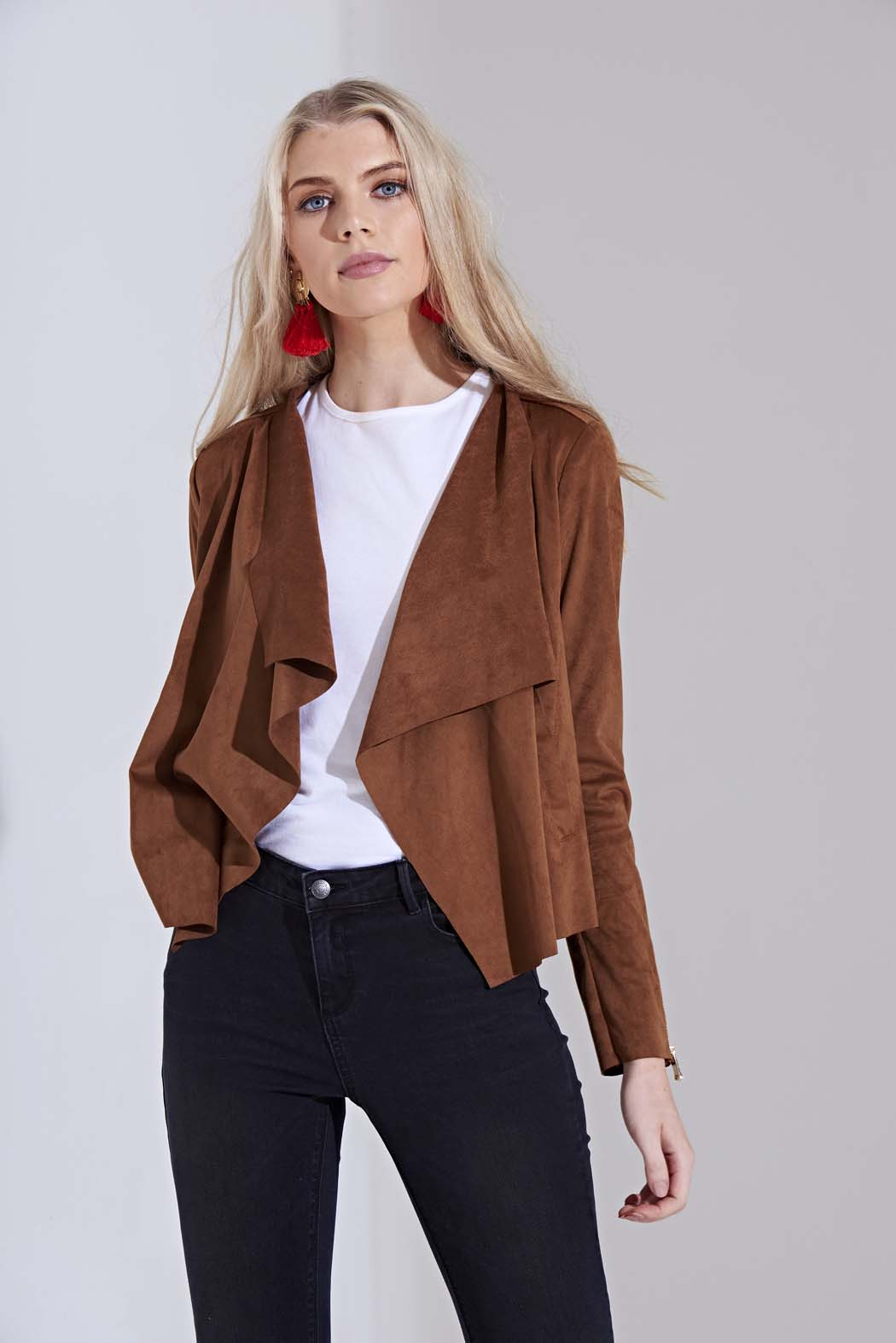 Amelia Tan Waterfall Suedette Jacket