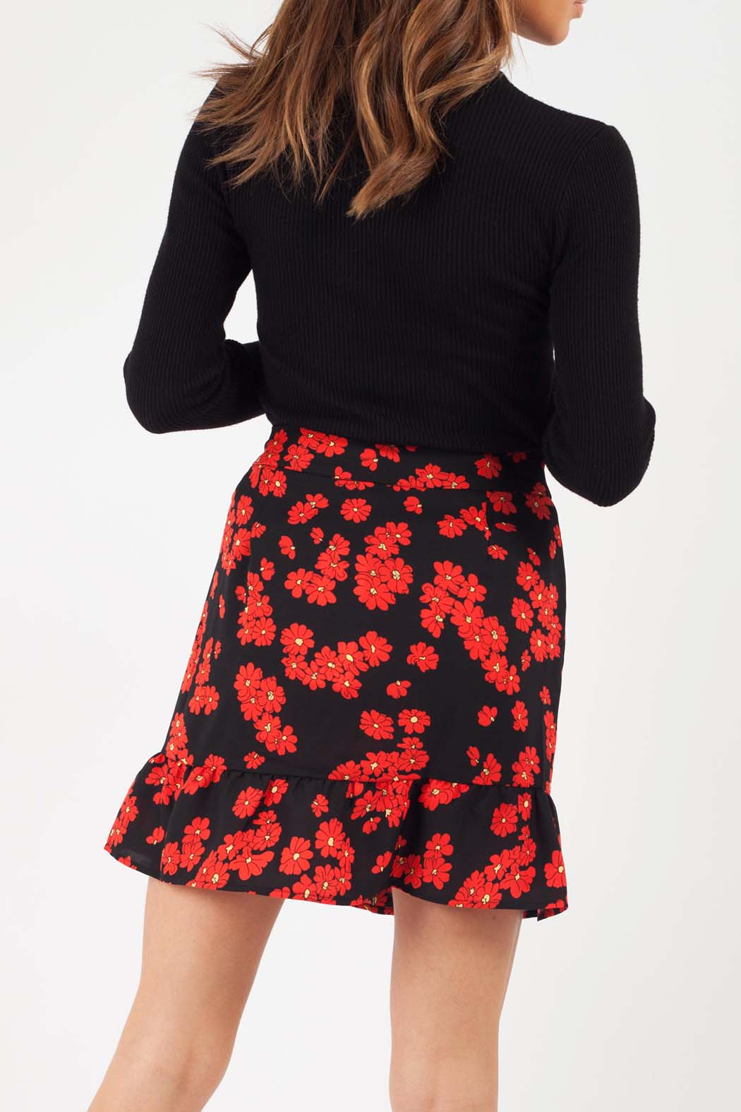 Peony Black and Red Floral Button Through Mini Skirt
