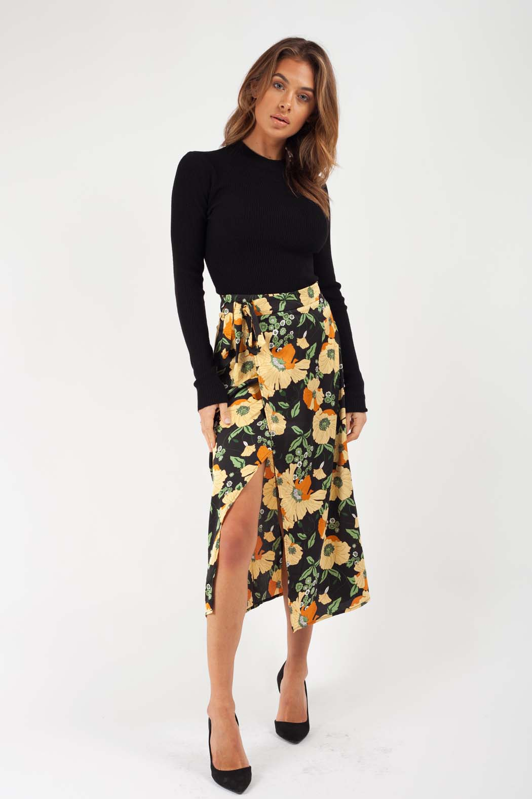 Oriental Black Satin Floral Wrap Midi Skirt