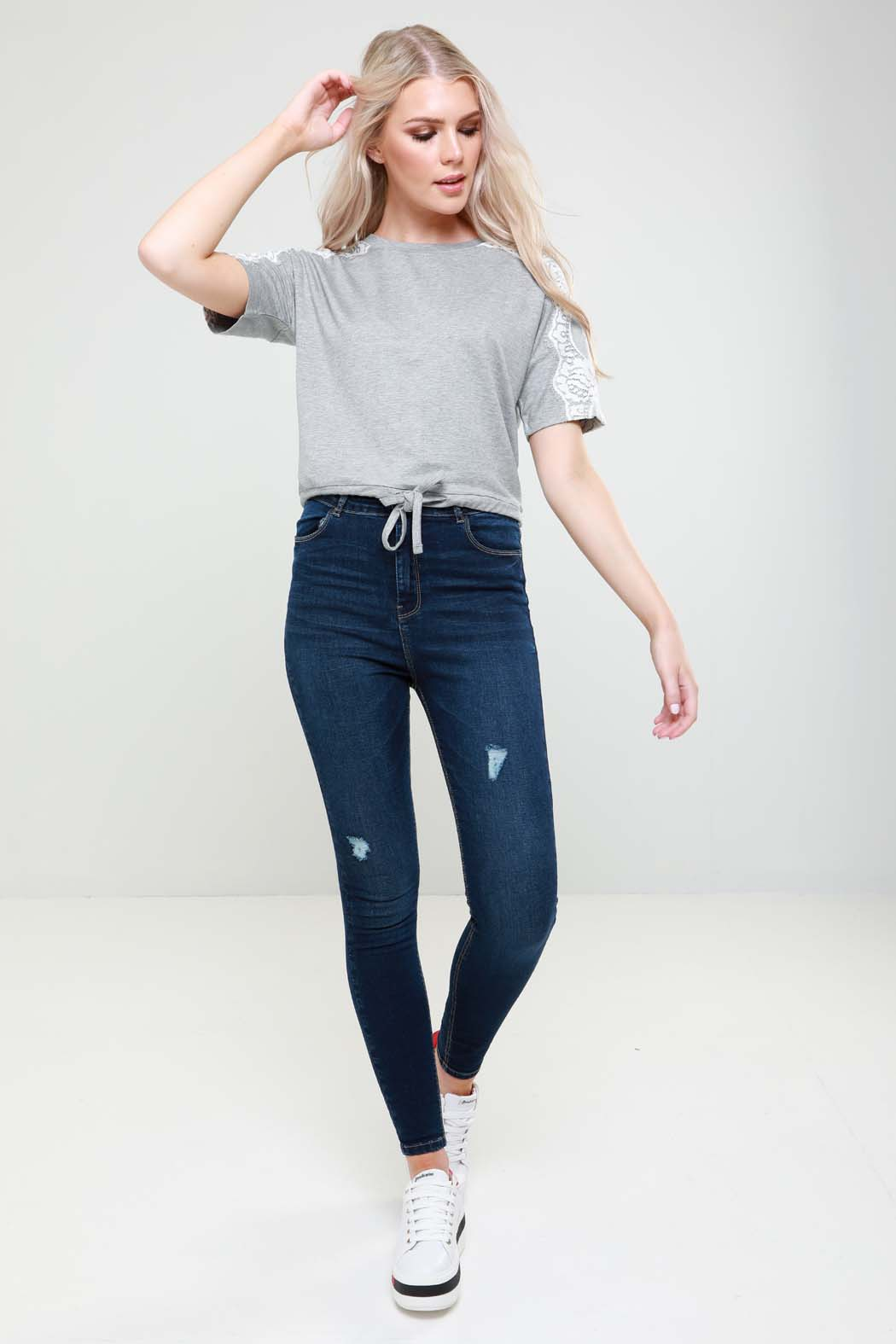 Whisper Grey Lace Trim Drawstring Hem Loopback Tee