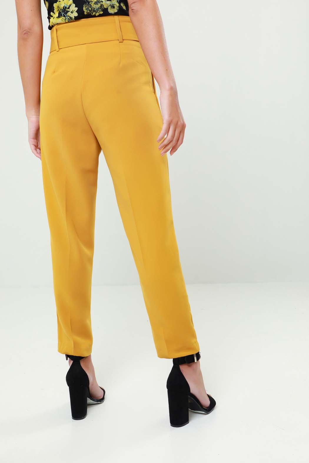Lindsey Mustard Contrast Button Belted Tapered Trouser