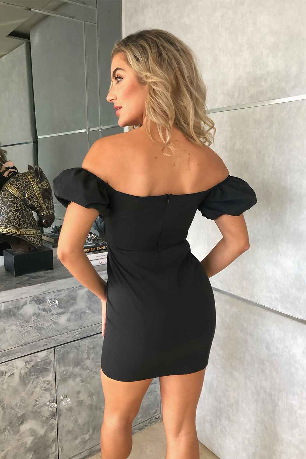 Pleasure Black Gathered Bardot Mini Dress