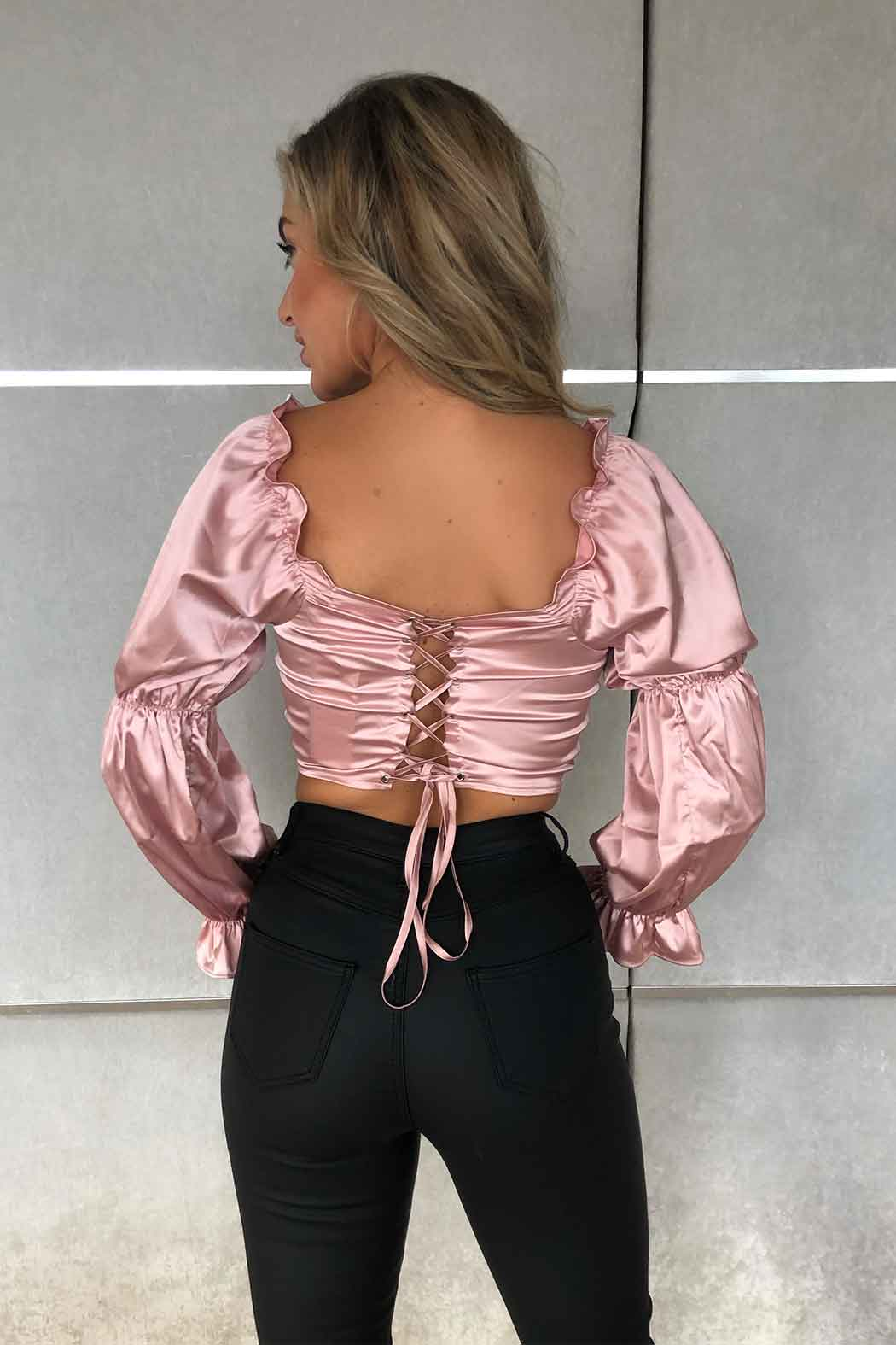 Clematis Lace Up Back Sateen Top