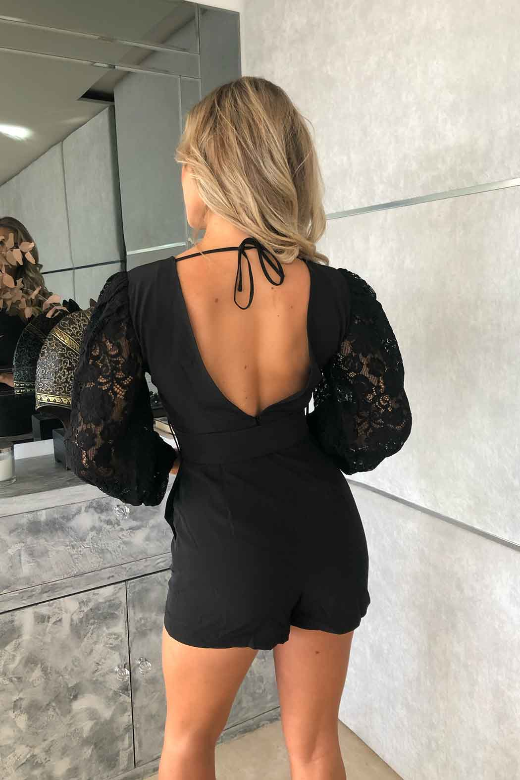 Florida Lace Sleeve Self Belt Playsuit