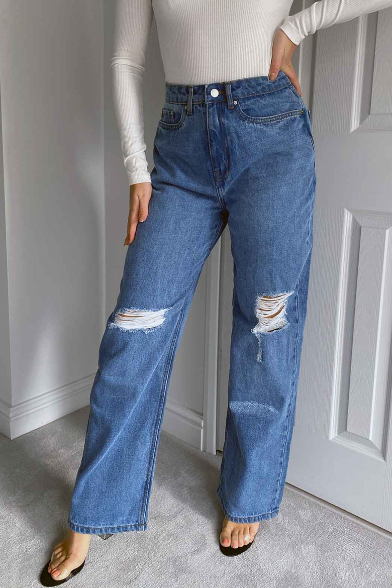 Amy Ripped Wide Leg Jeans