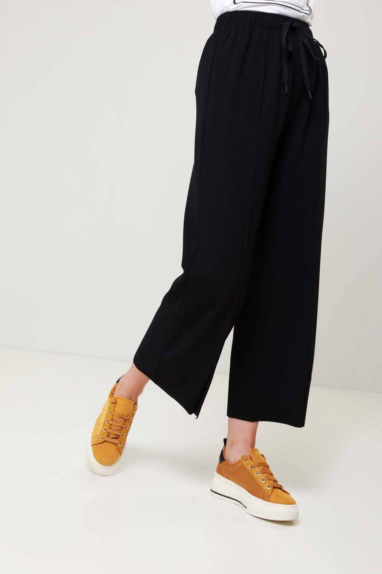 Arrow Black Split Hem Wide Leg Trouser