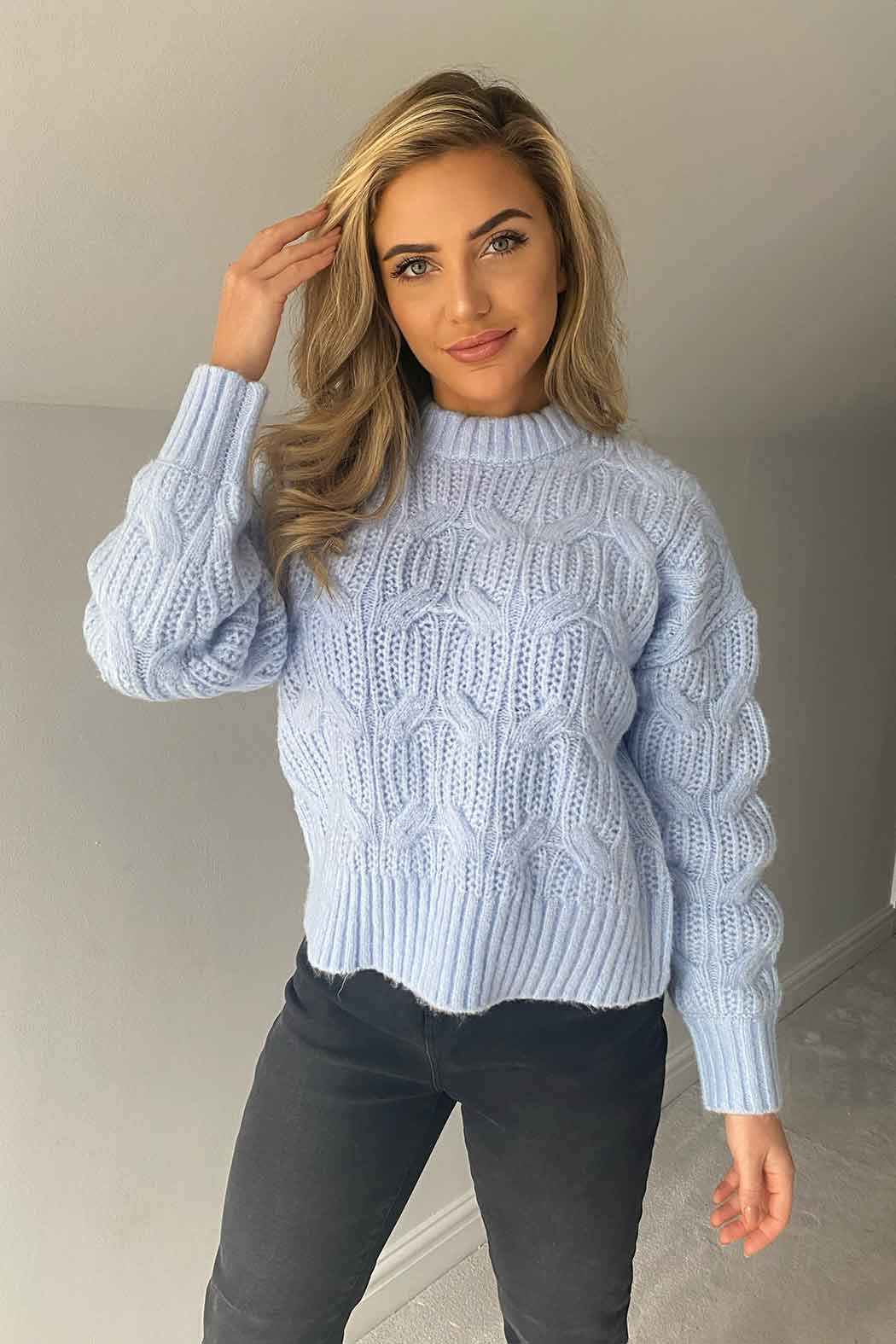 Cosy Balloon Sleeve Blue Cable Jumper