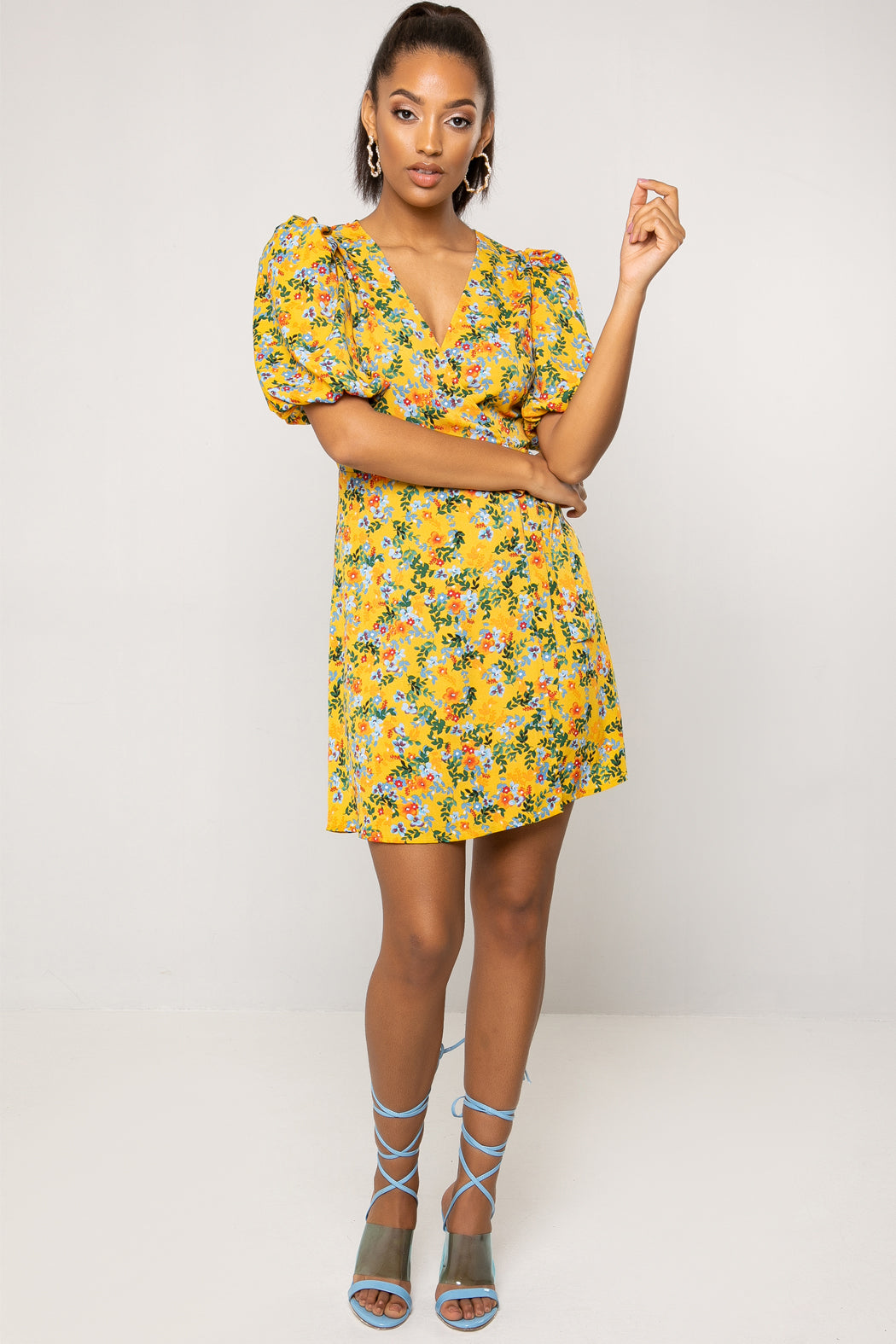 Cole Puff Sleeve Yellow Floral Mini Wrap Dress