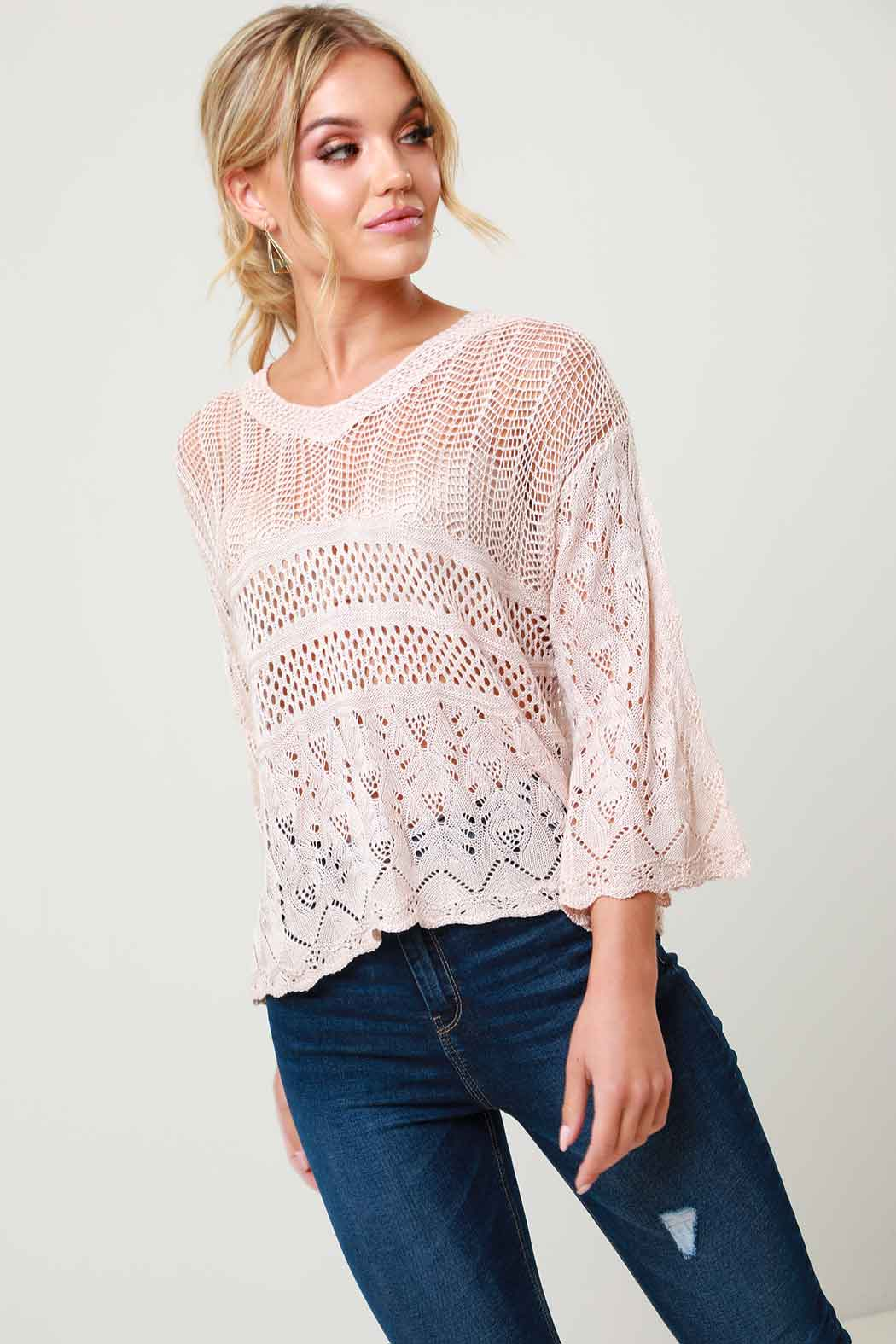Violet Pink Crochet V Neck Knitted Jumper