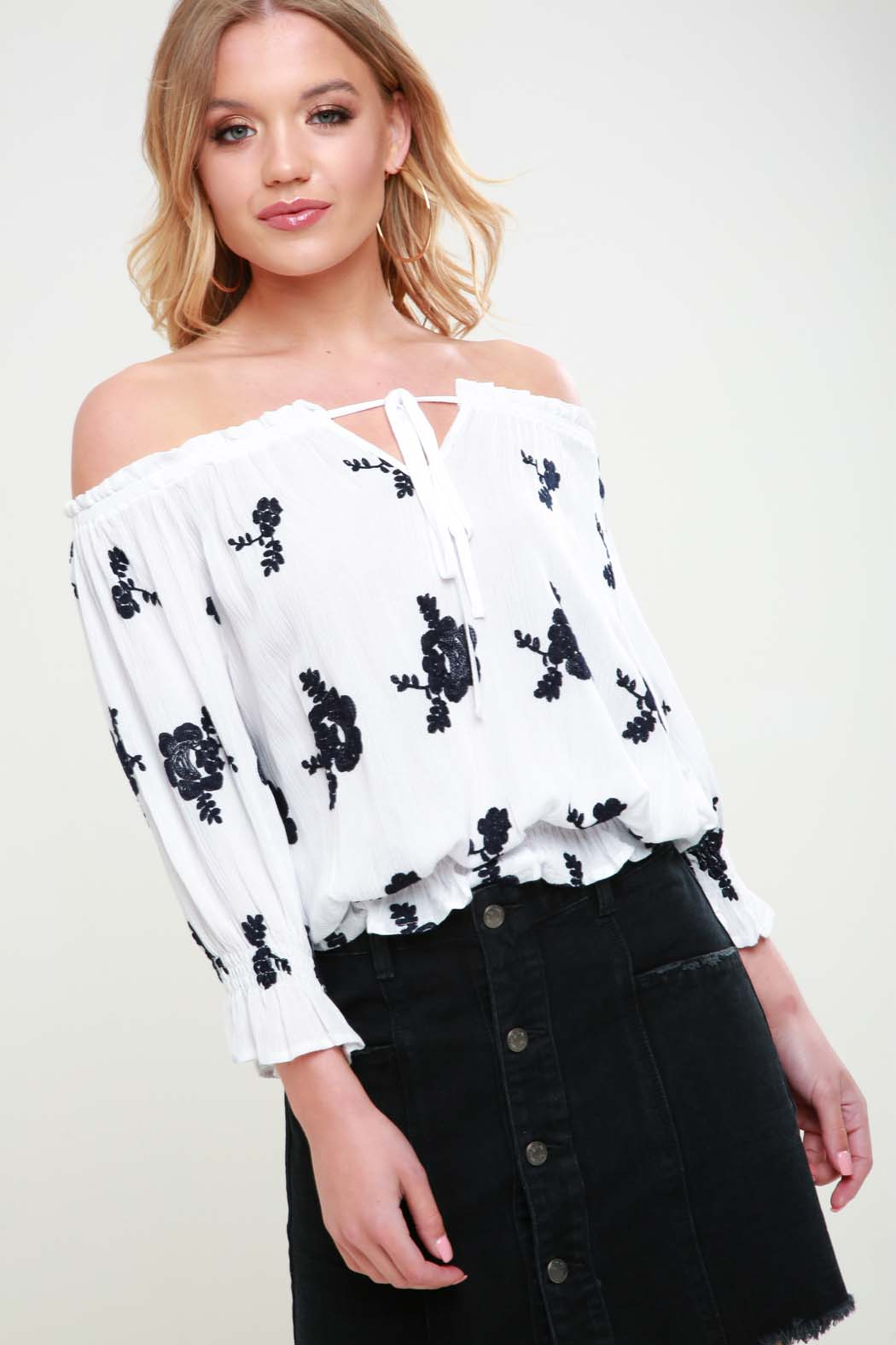 Charlotte White Rose Embroidered Bardot Top