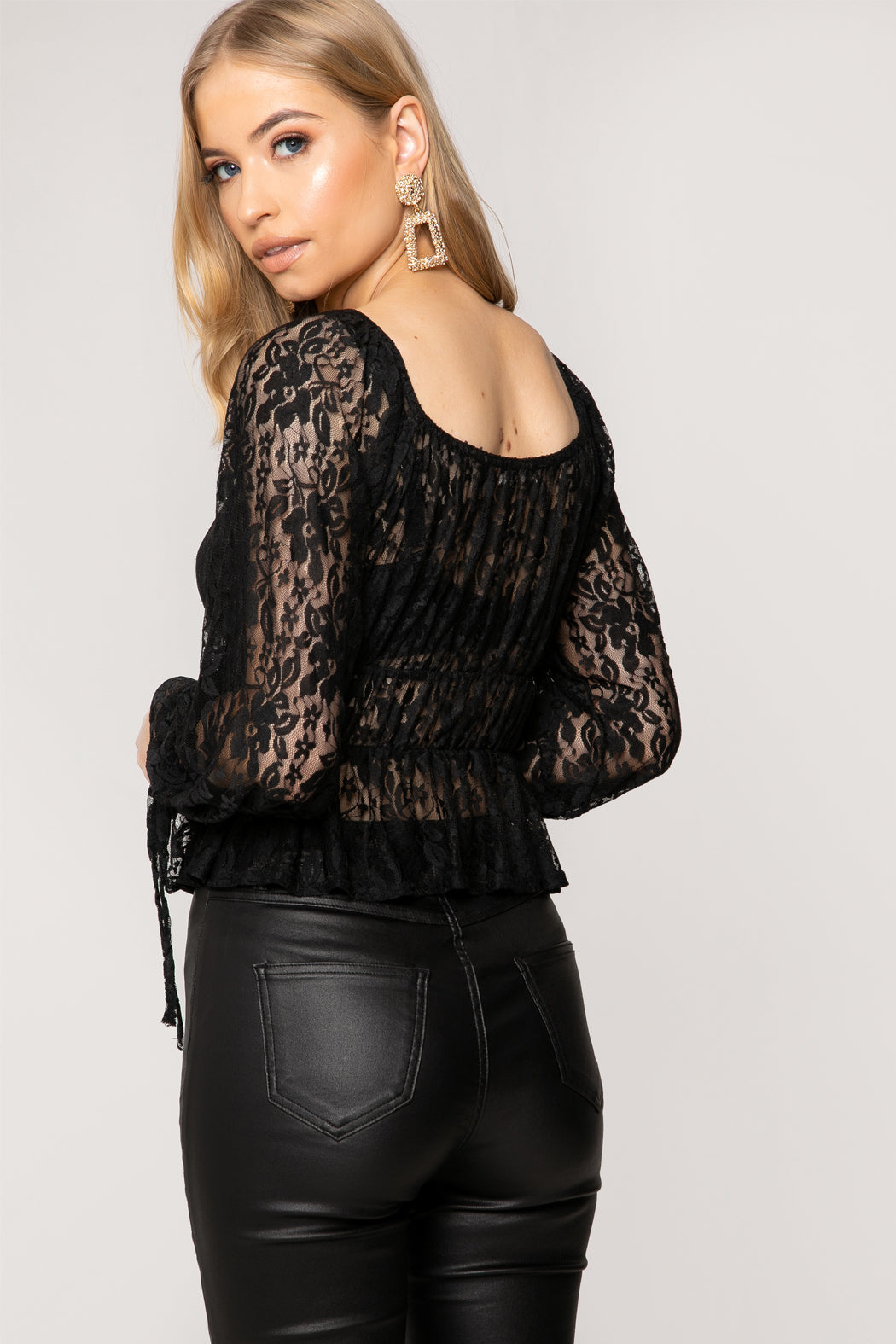 Black Cherry Lace Tie Detail Peplum Bardot Top
