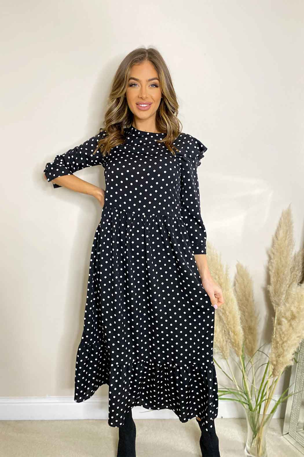 Frankie Spot Tiered Midi Dress