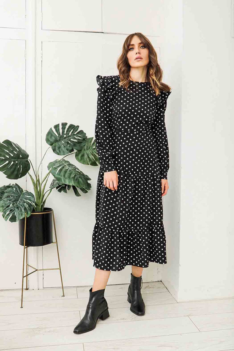 Franny Spot Fitted Ruffle Midaxi Dress