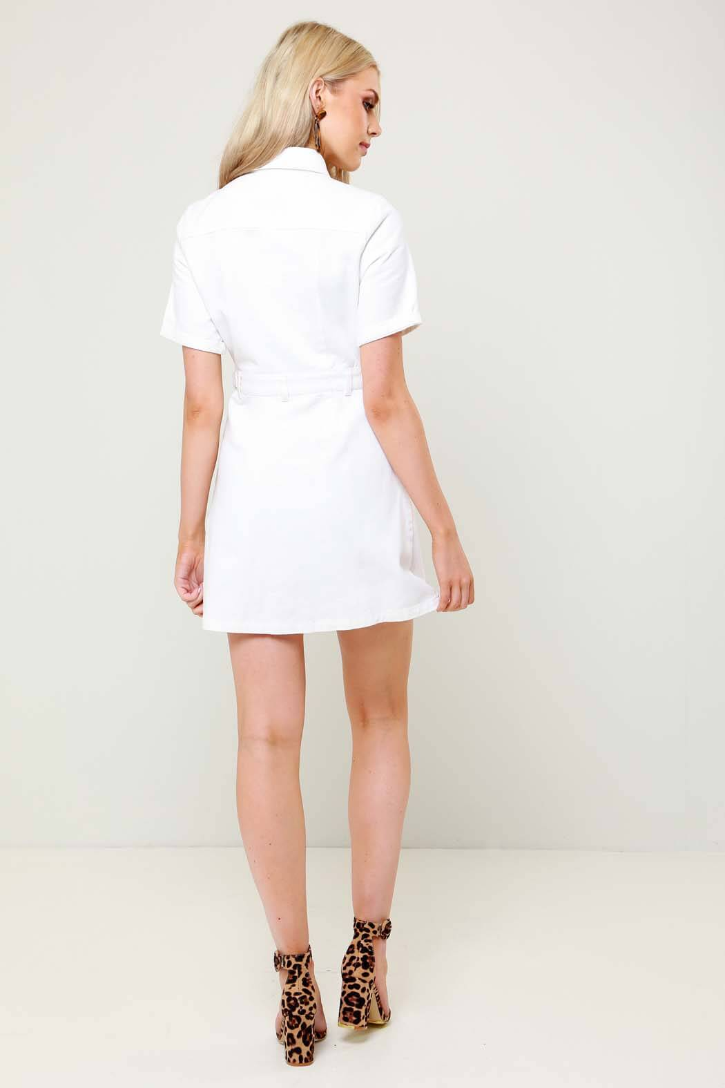 Havana White Denim Cargo Shirt Dress