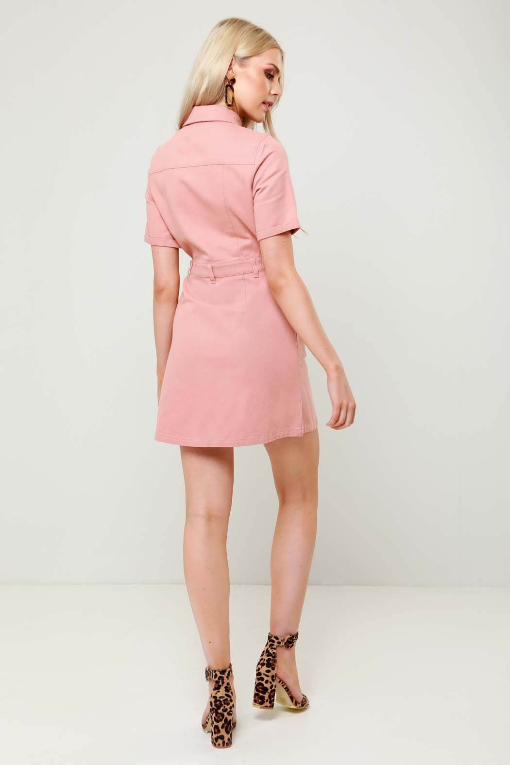 Havana Pink Denim Cargo Shirt Dress