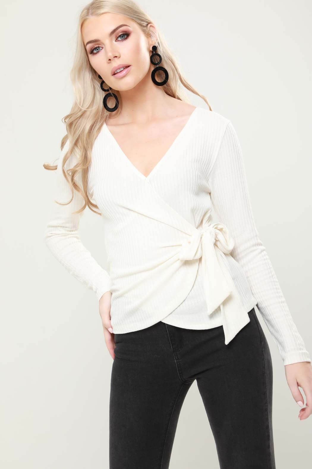 Holly Cream Knitted Wrap Top