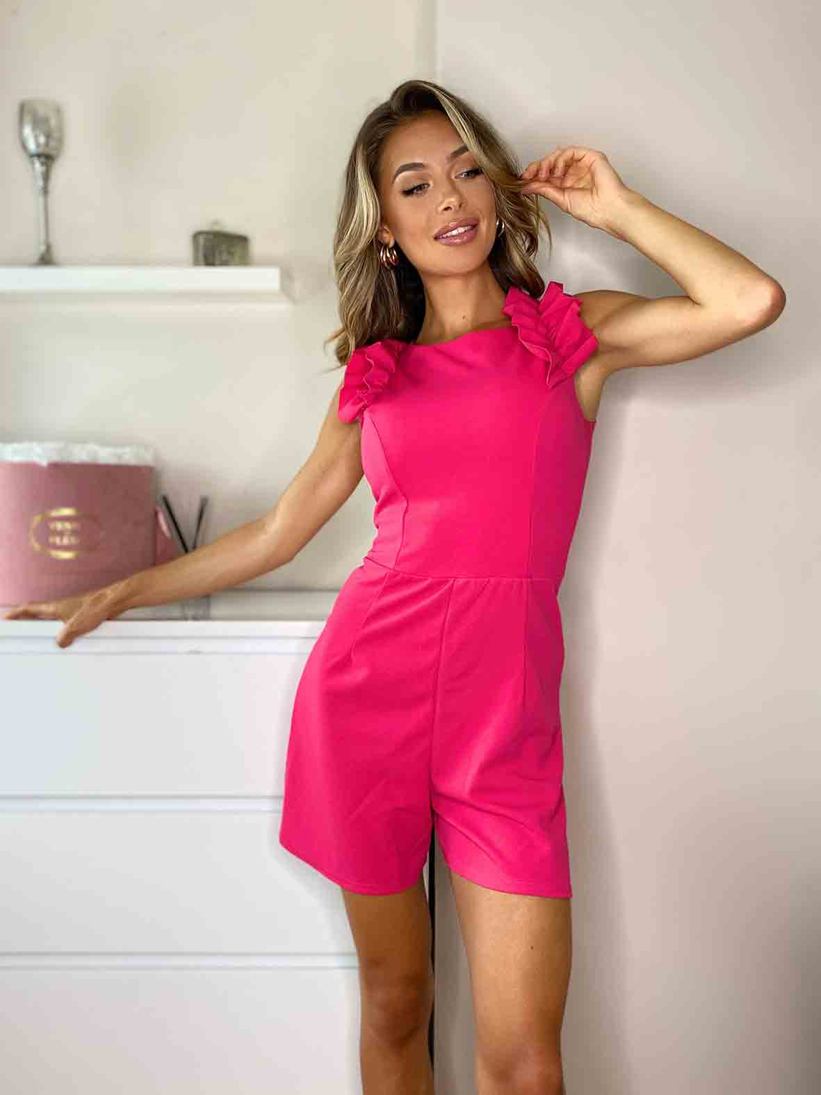Easton Pink Ruffle Detail Playsuit