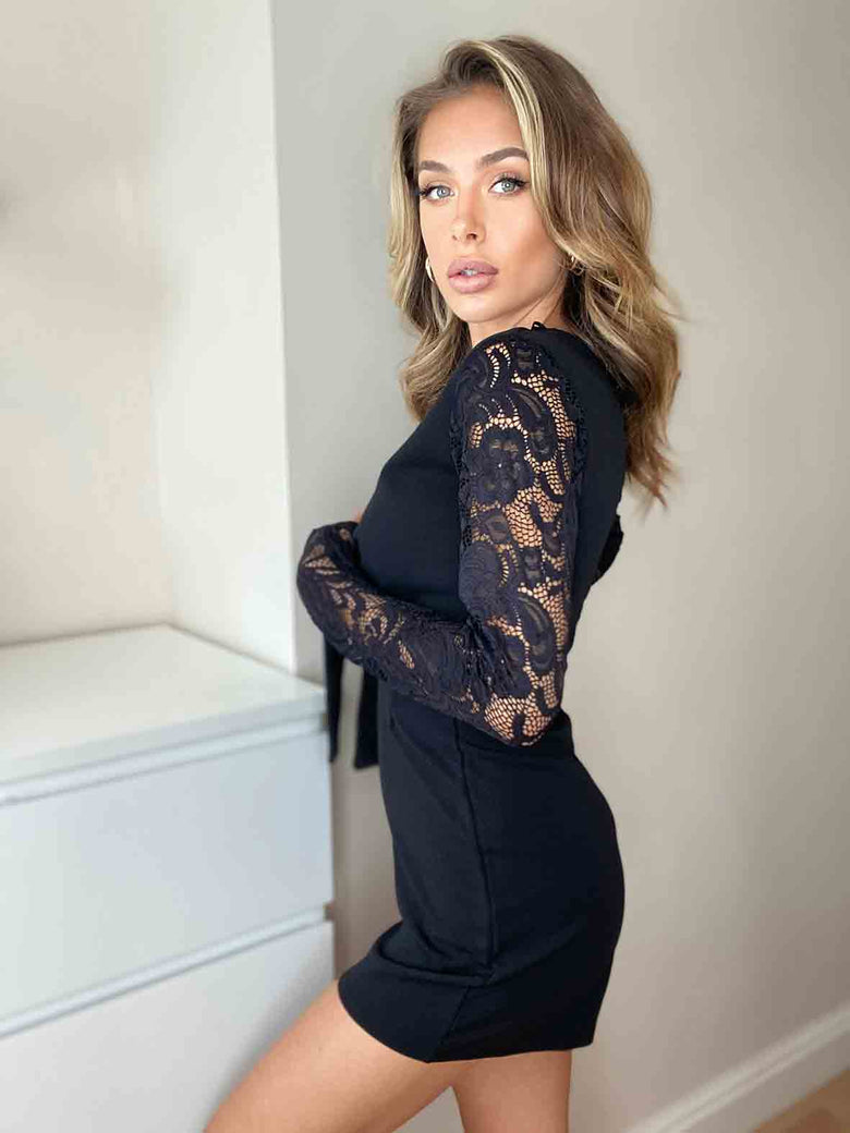 Tarin Black Lace Sleeve Tie Front Playsuit