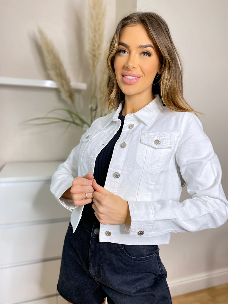 Maya Ecru Crop Denim Jacket