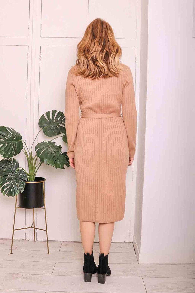 Camel Jessy Button Through Dress