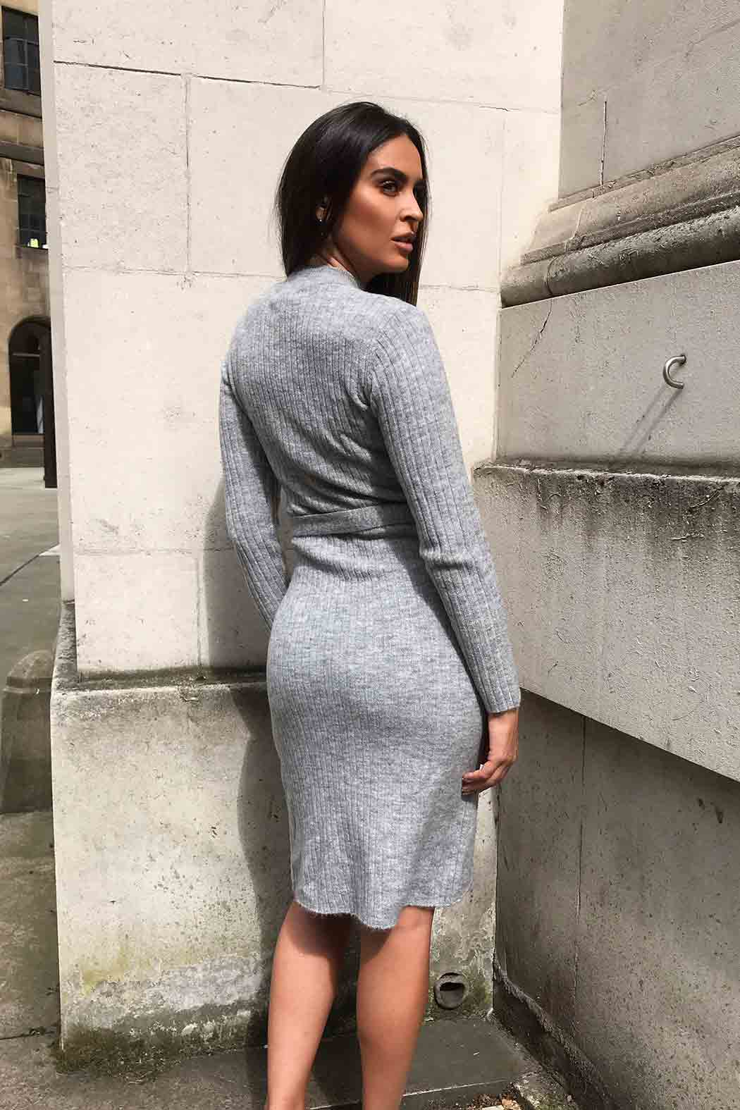 Jil Belted Grey Midi Dress