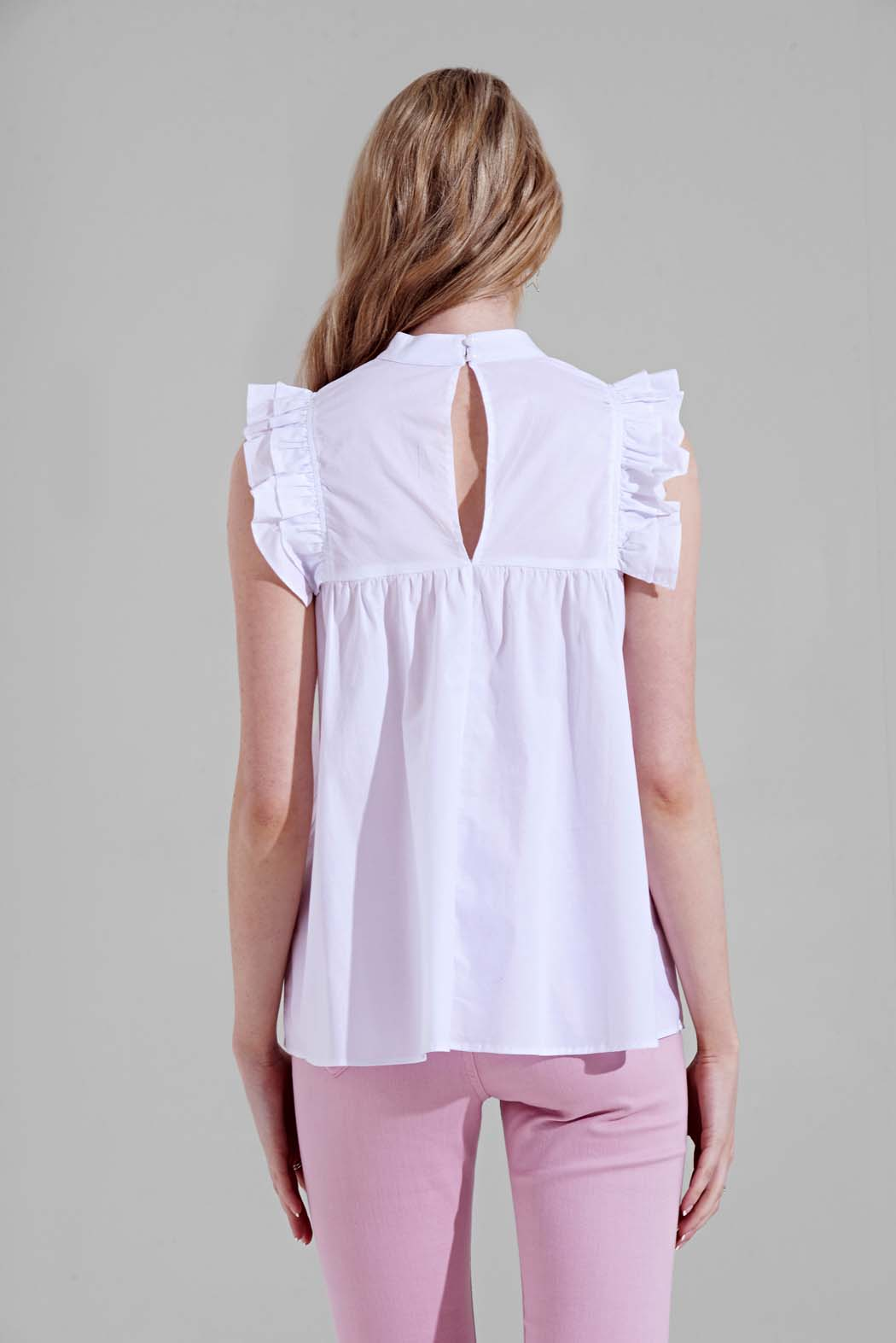 Kayla White Embroidered Ruffle Detail Smock Blouse