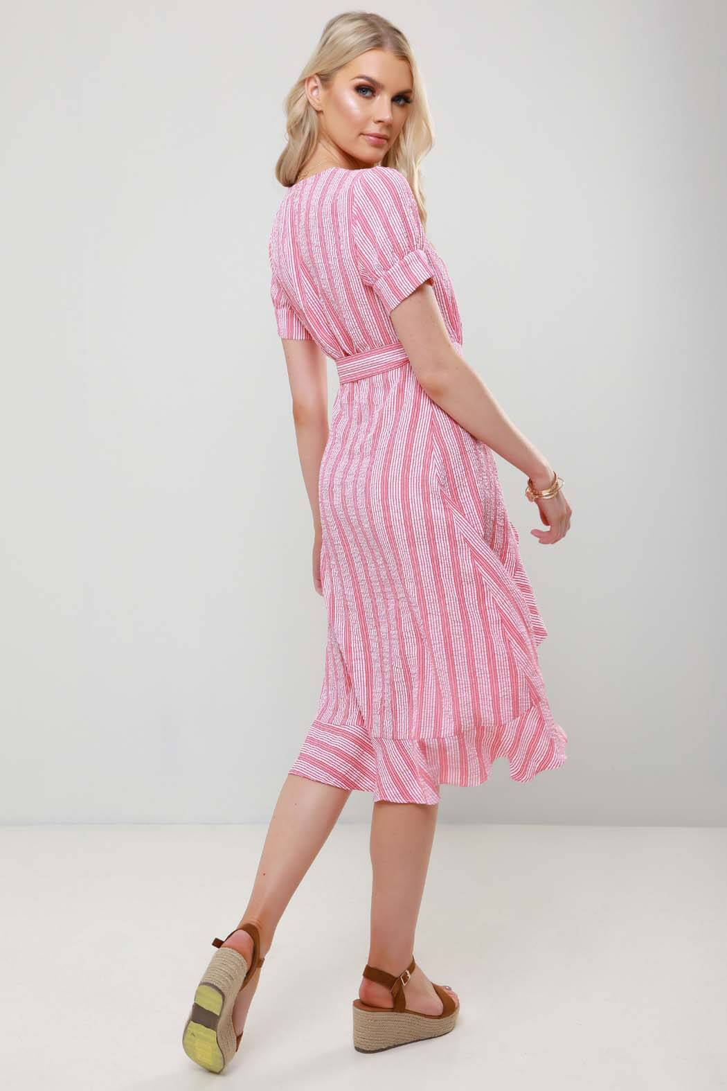 Etta Red Stripe Wrap Ruffle Midi Beach Cover Up Dress