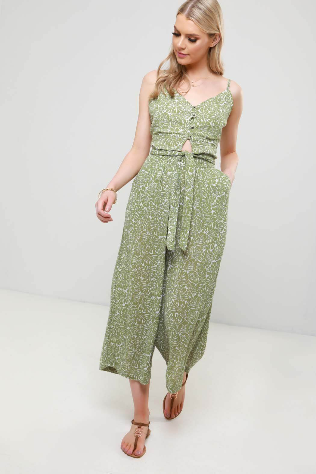 Green Palm Print Tie Waist Crop Wide Leg Trouser