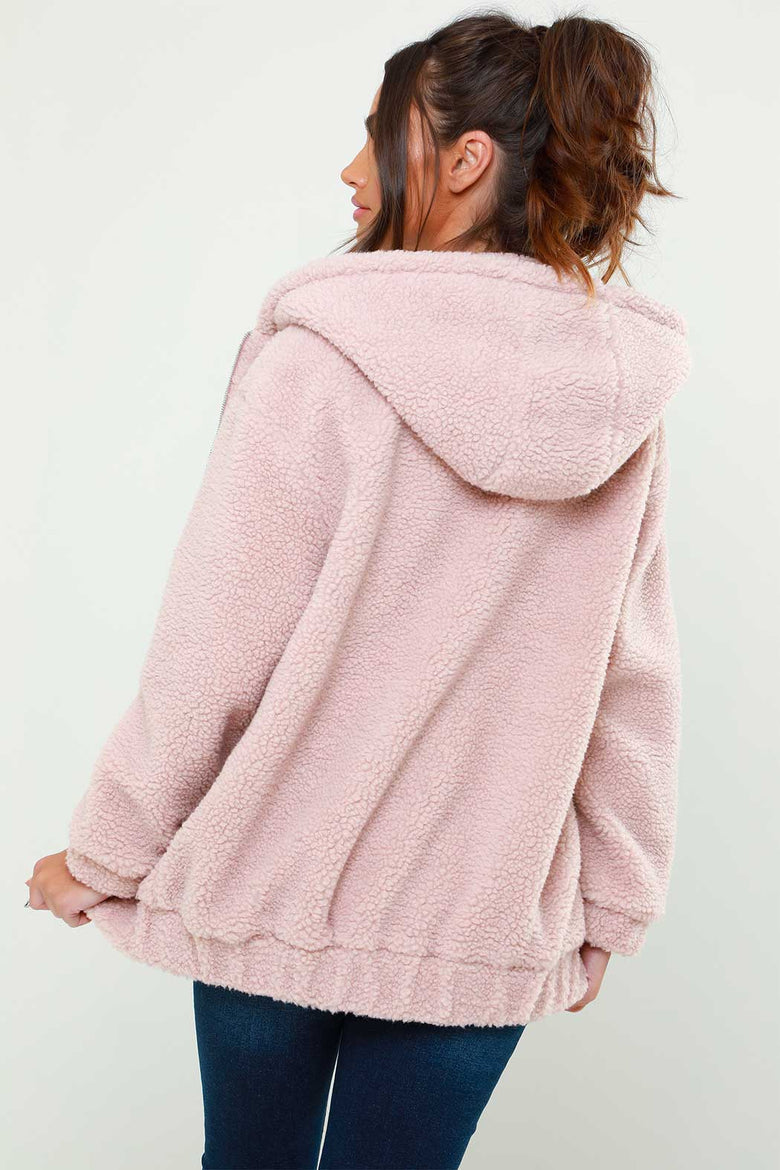 Pink Lexi Borg Hooded Jacket