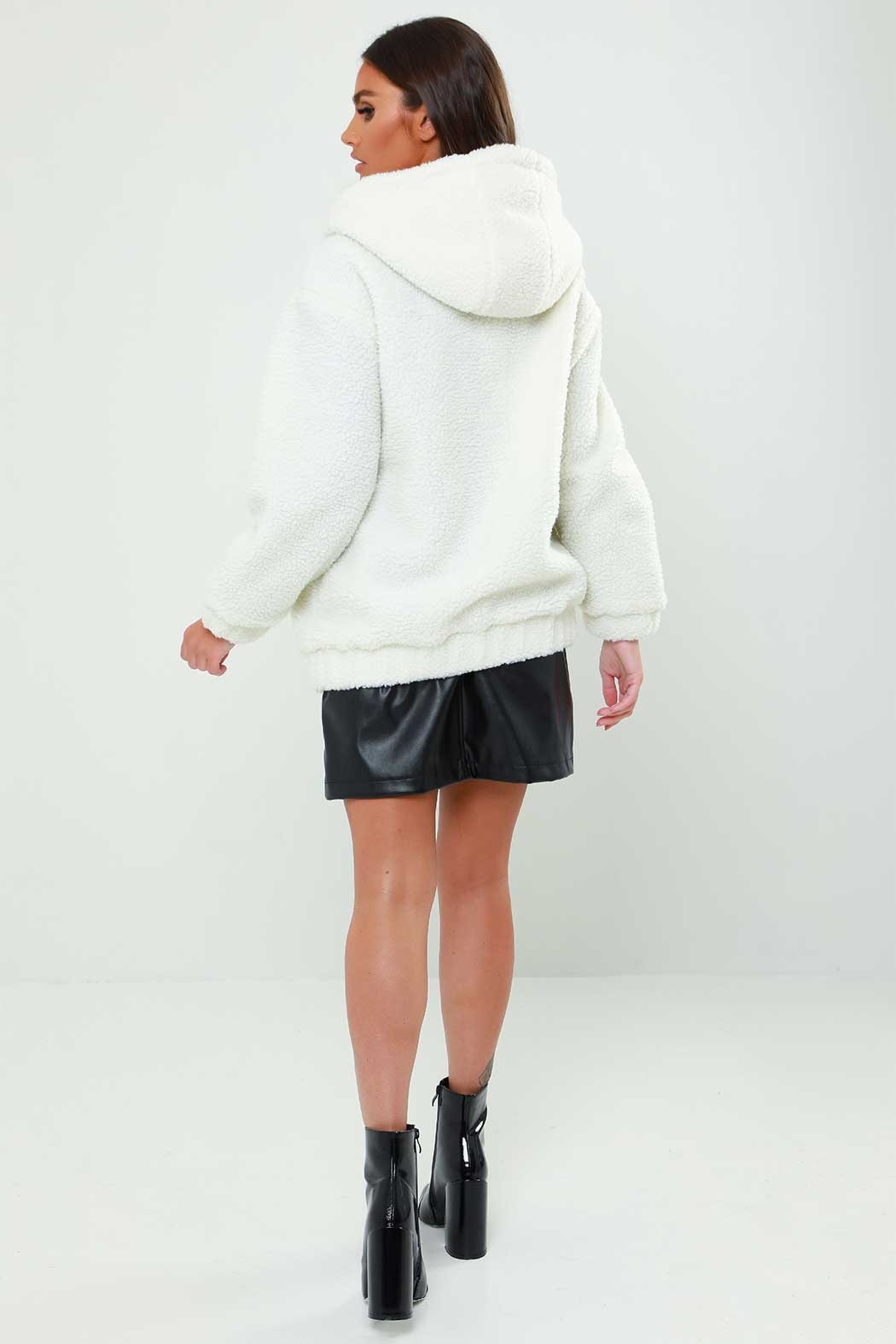 Cream Lexi Borg Hooded Jacket