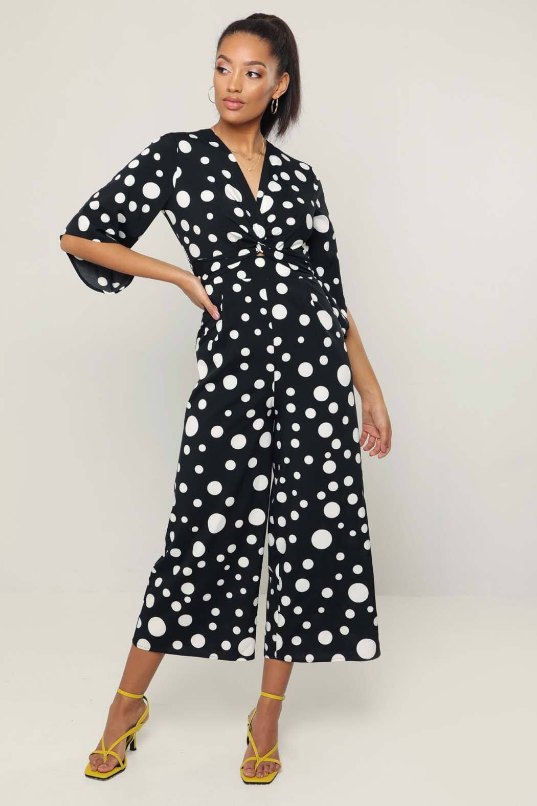Mya Black Spot Twist Front Wide Leg Jumpsuit