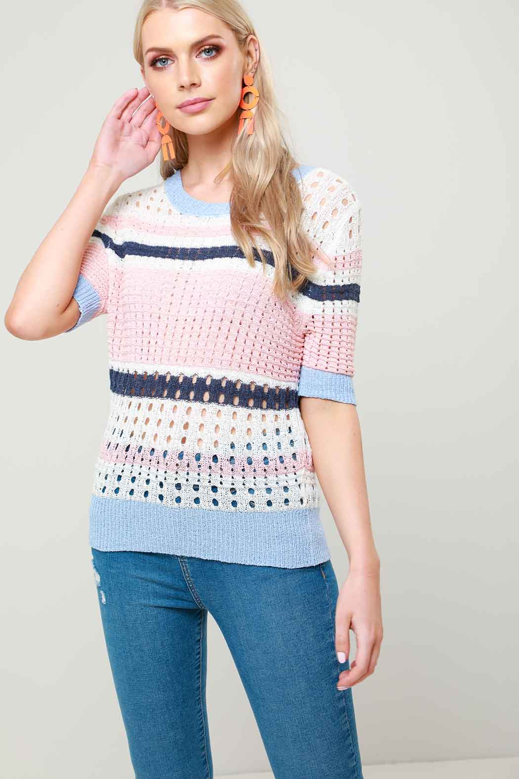 Mia Mesh Stitch Stripe Knit Jumper