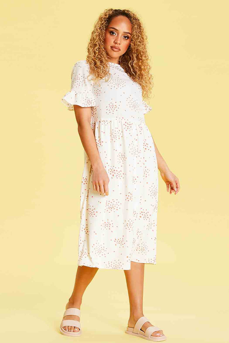 Maddie Ruffle Sleeve Midi Dress