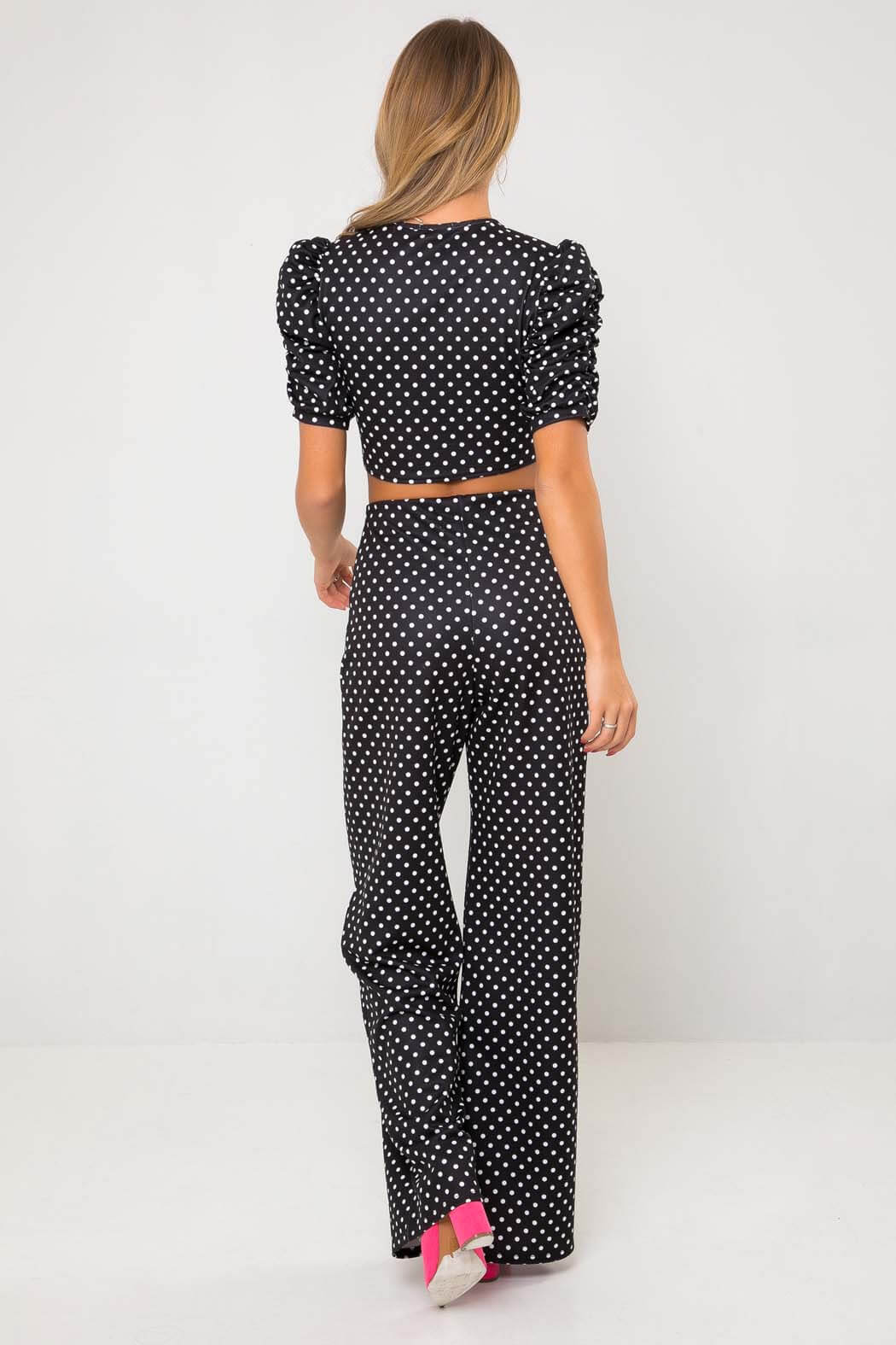 Black Spot Puff Sleeve Crop Top
