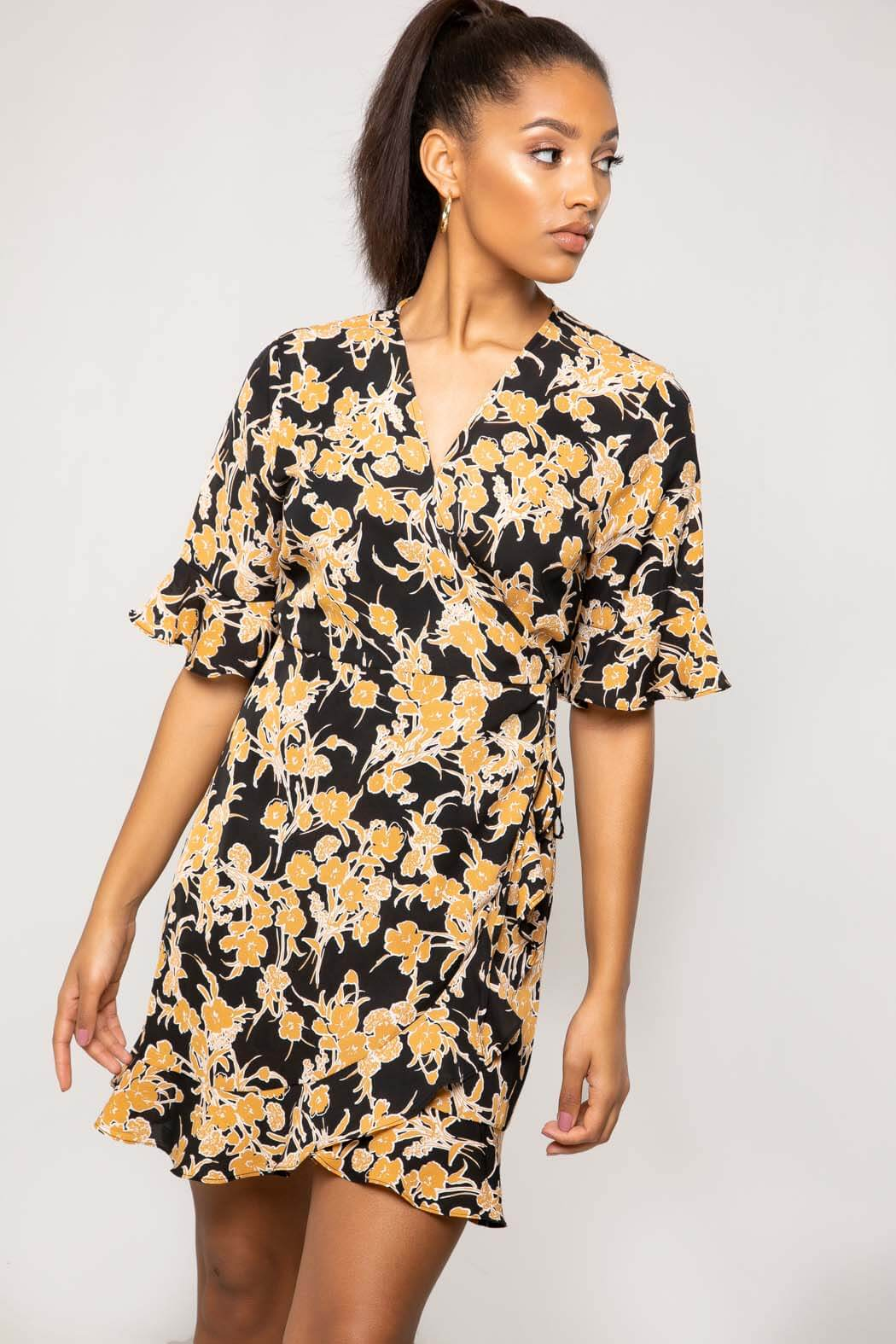 Siren Black Floral Mini Wrap Dress