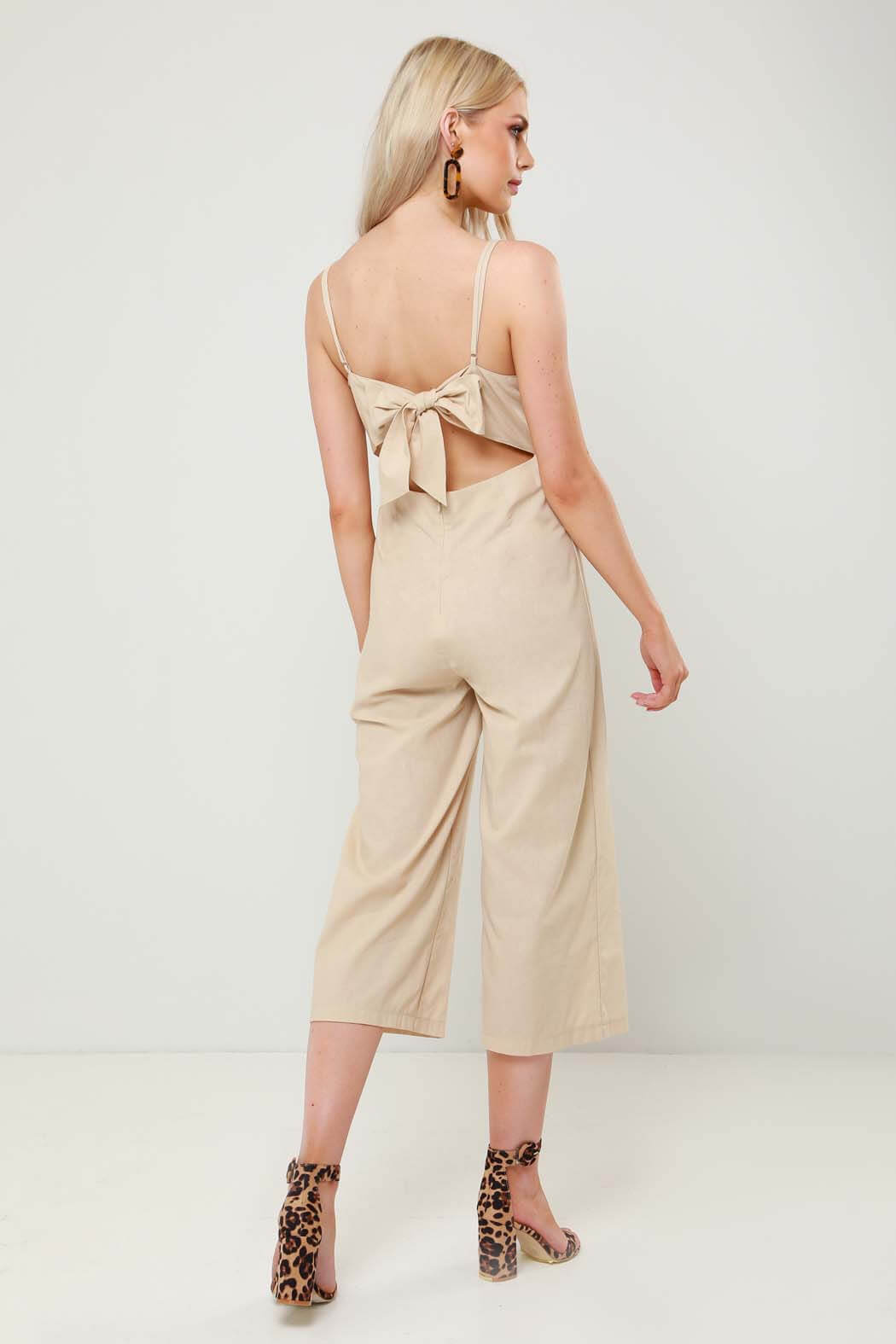 Sunny Stone Tie Back Wide Leg Cropped Jumpsuit