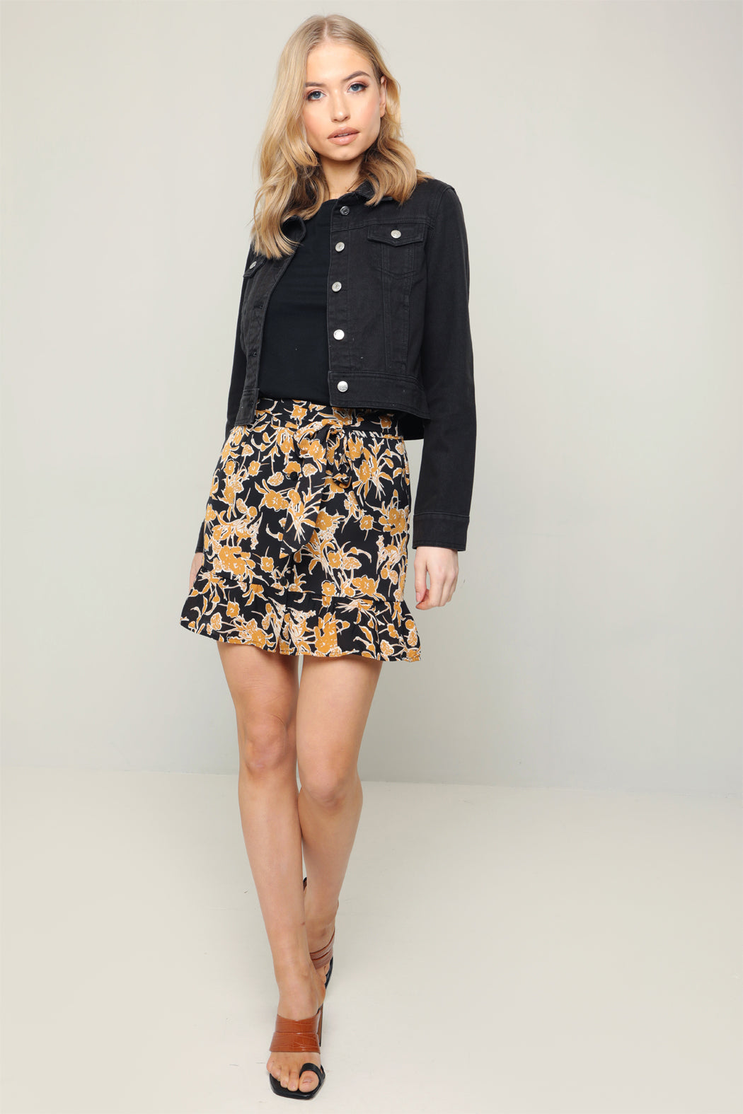 Siren Black and Mustard Floral Tie Front Peplum Mini Skirt