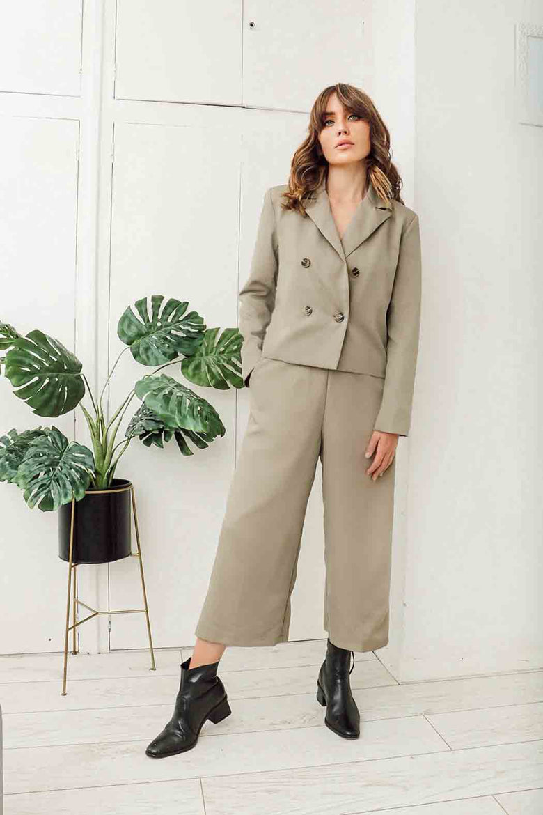 Olive Taylor Wide Leg Crop Trousers