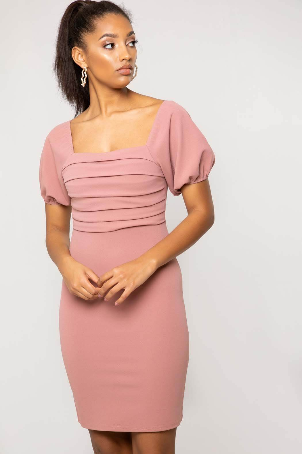 Tilly Pink Ruched Front Puff Sleeve Mini Dress