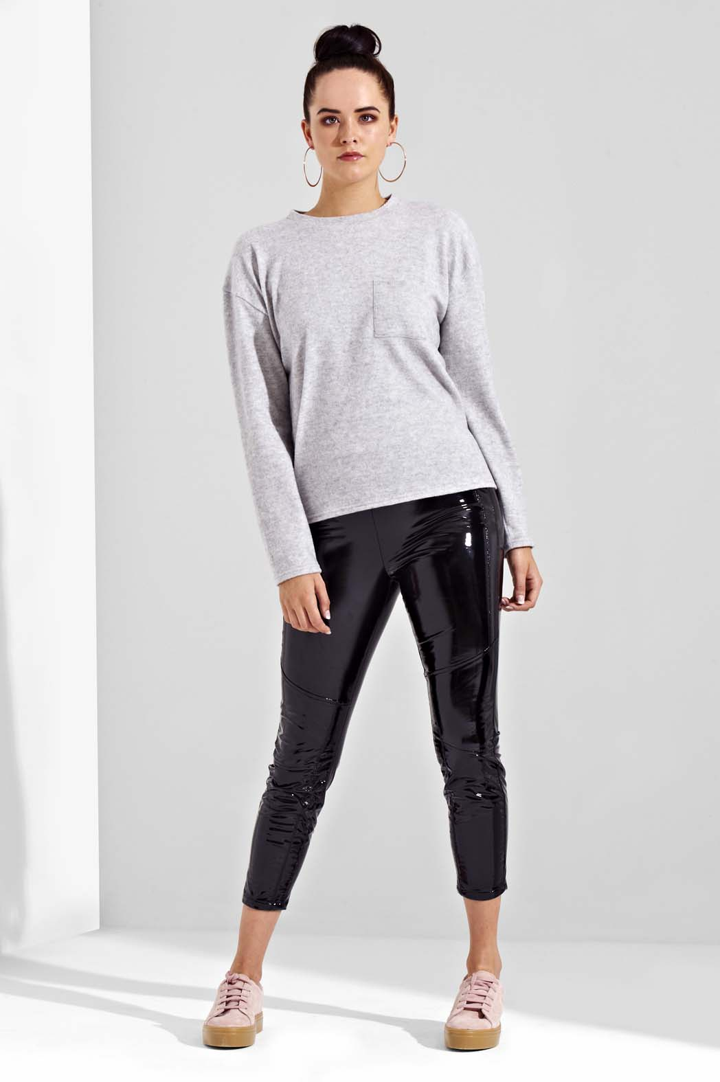 Tabatha Grey Marl Brushed Boxy Pocket Jumper