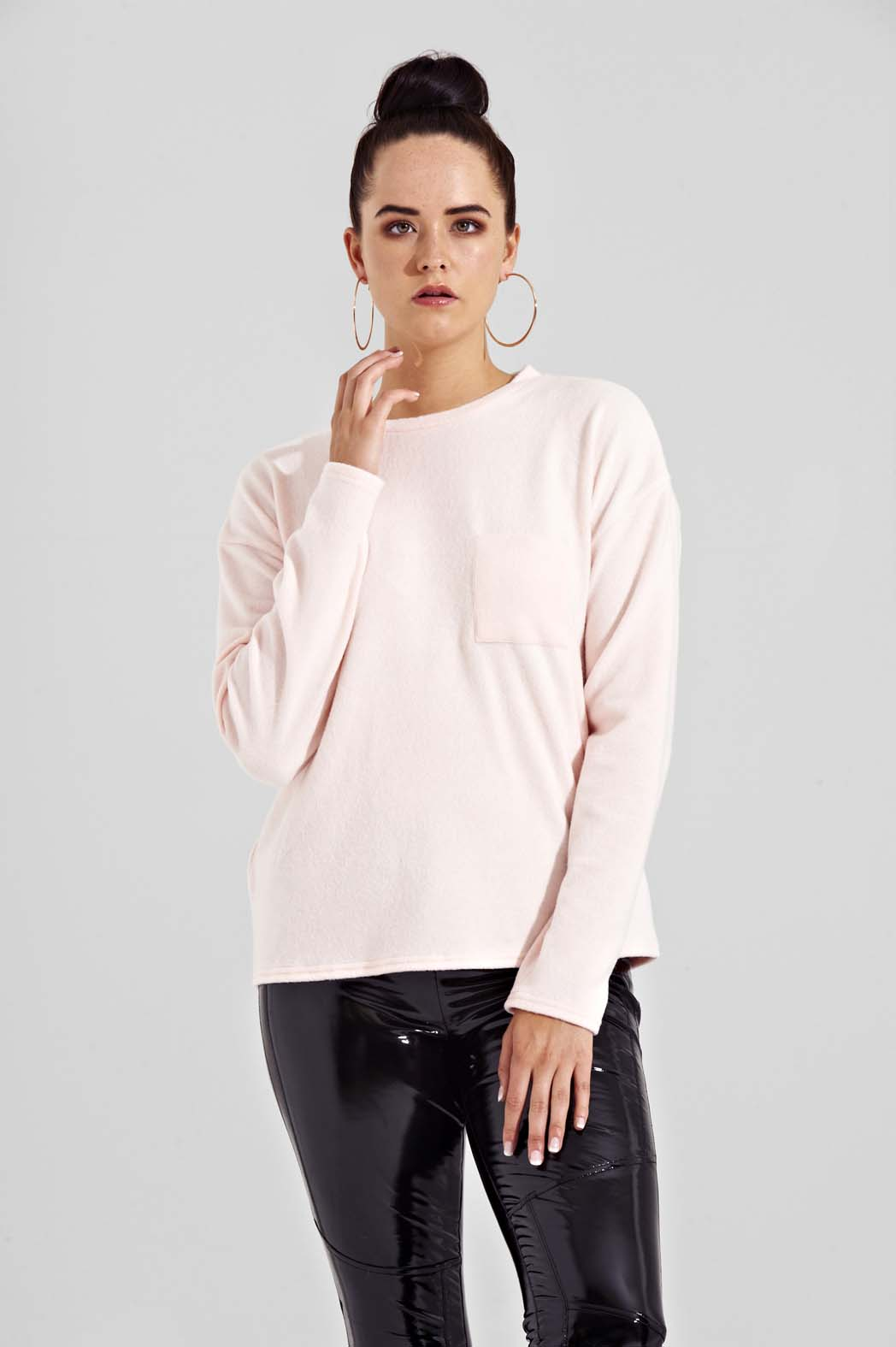 Tabatha Pink Brushed Boxy Pocket Jumper