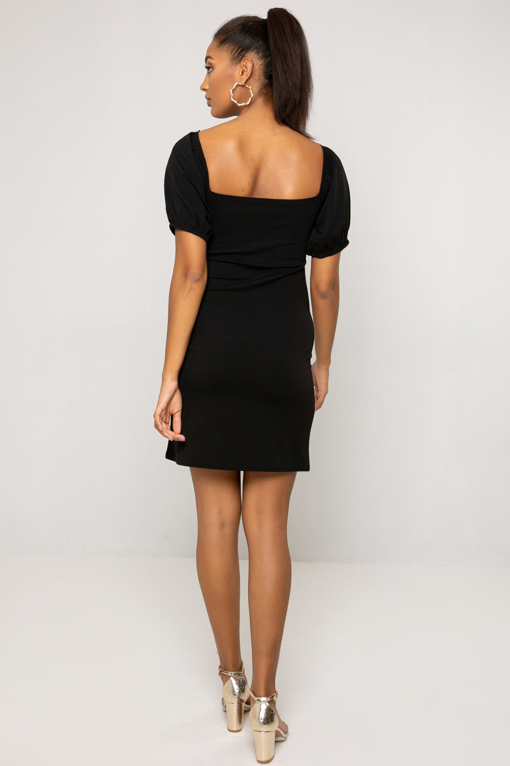Tilly Black Ruched Front Puff Sleeve Mini Dress