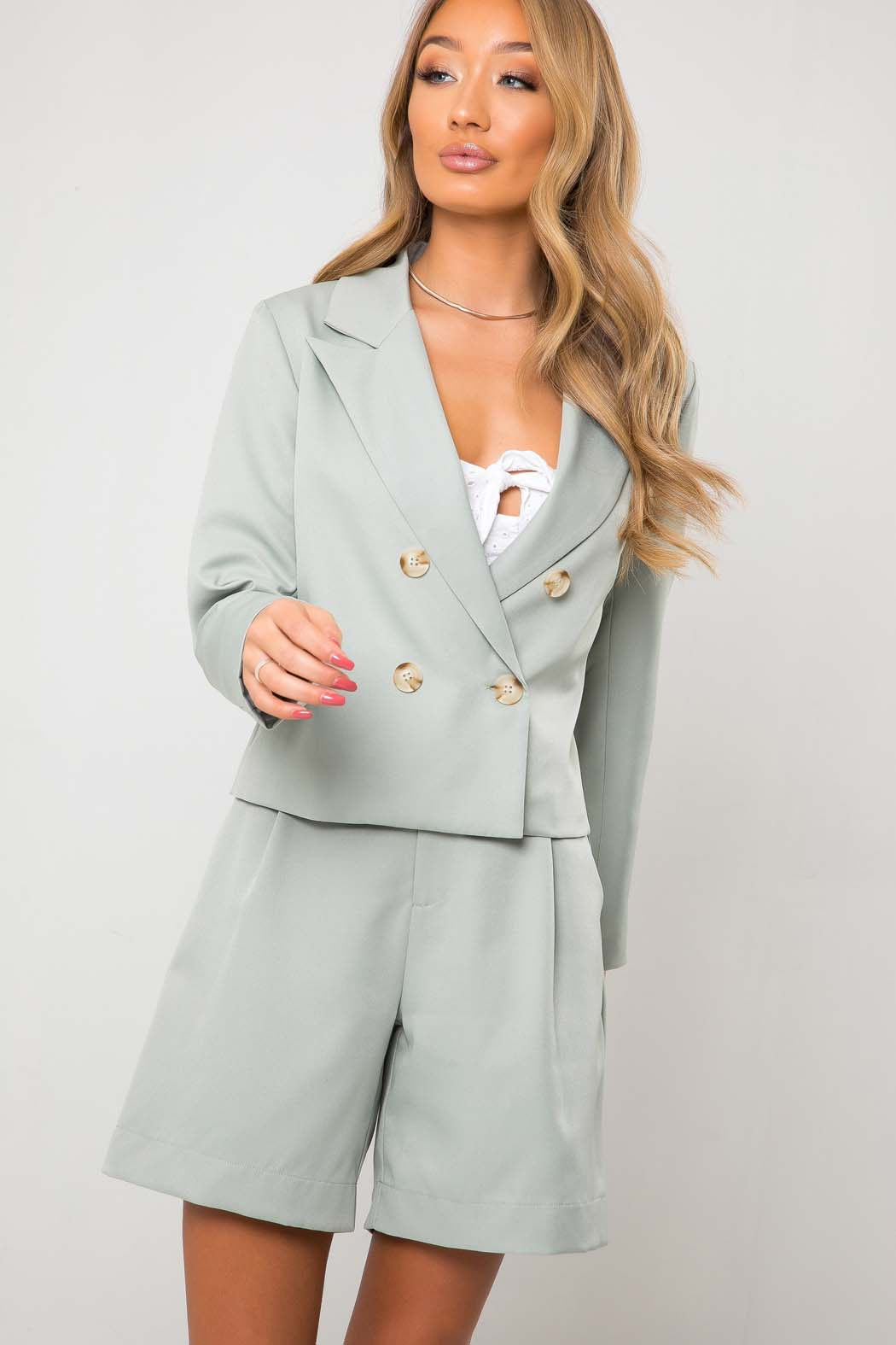 Taylor Mint Green Crop DB Blazer