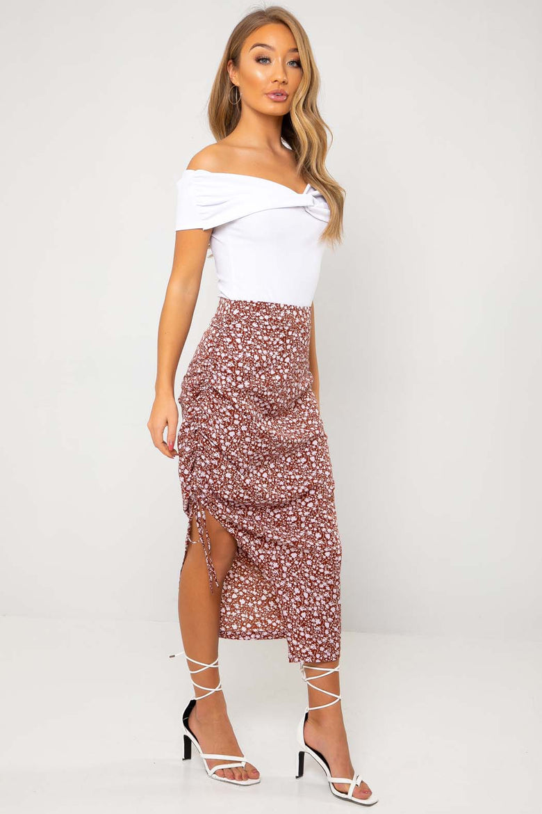 Marissa Lilac Floral Drawstring Side Split Midi Skirt