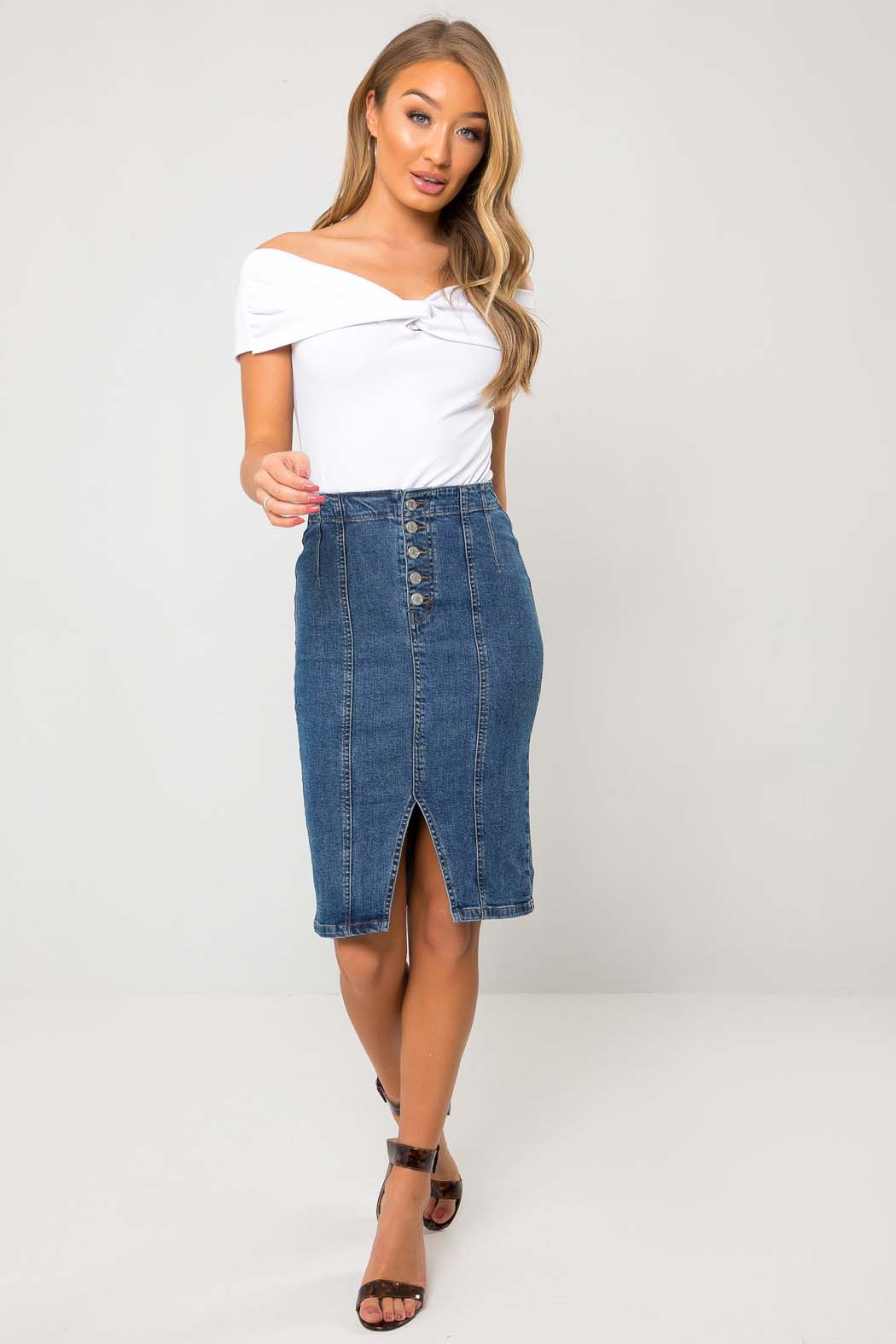 Hestia Button Up Blue Denim Pencil Skirt