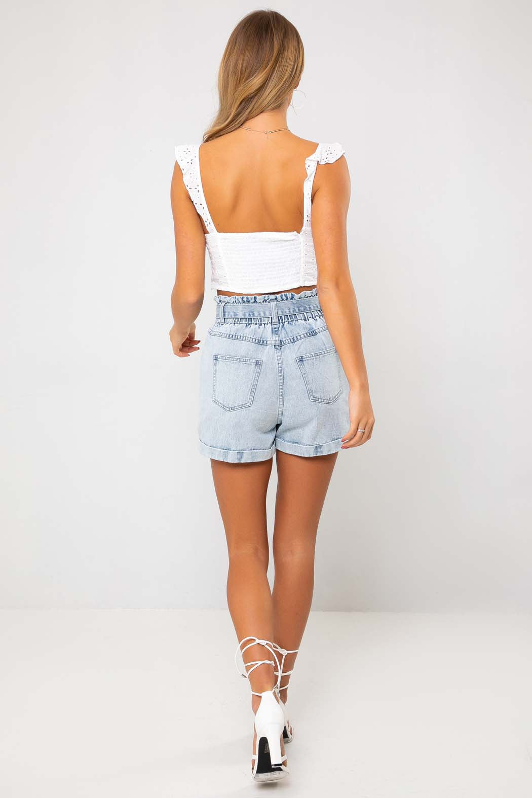Liv Light Blue Paperbag Tie High Waist  Denim Short