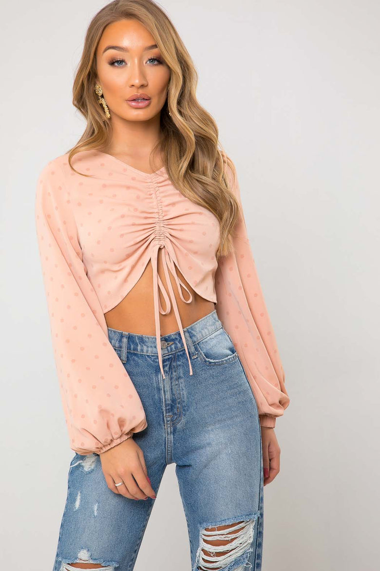 Dolly Drawstring Pale Pink Spot Ruched Top