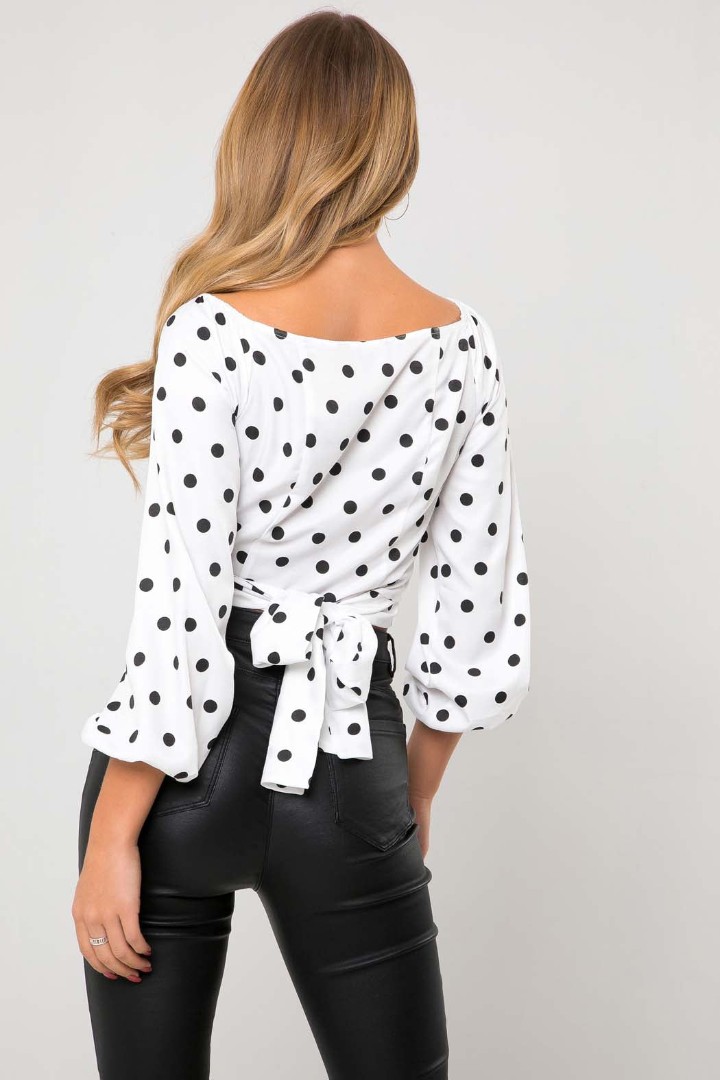 Eloise Wrap White Spot Tie Back Blouse