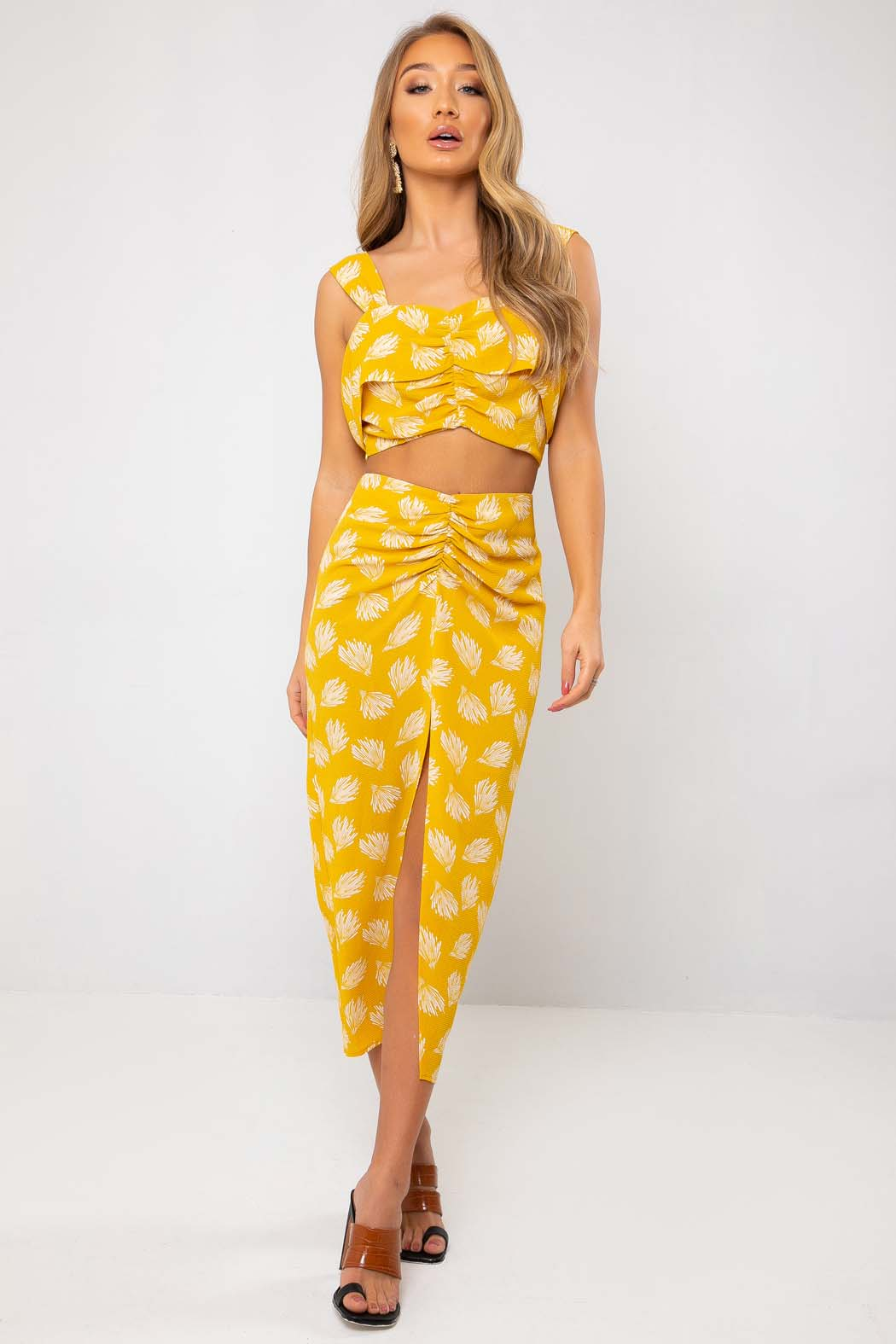 Imelda Yellow Ruche Front Co Ord Crop Top
