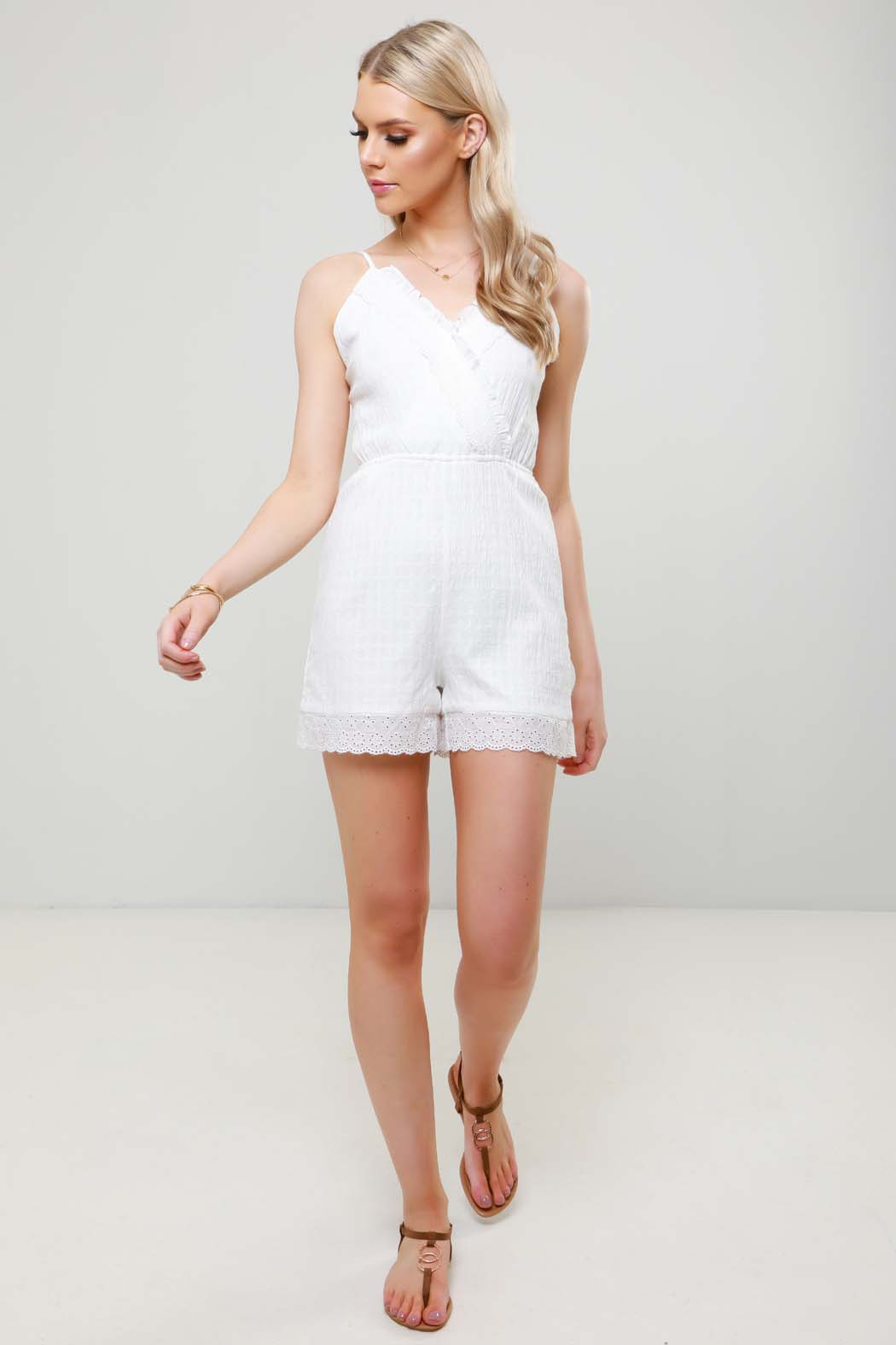 Venetia White Broderie Strappy Playsuit